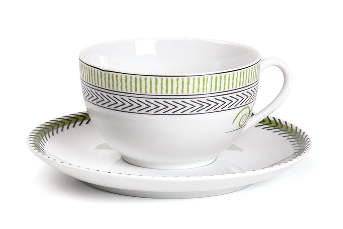Monalisa 0994 набор чайных пар 210мг, 12пр, цвет: бело-зеленый с золотом619501 0994Чайная пара 210 мл * 6 штук/ 12 предметов