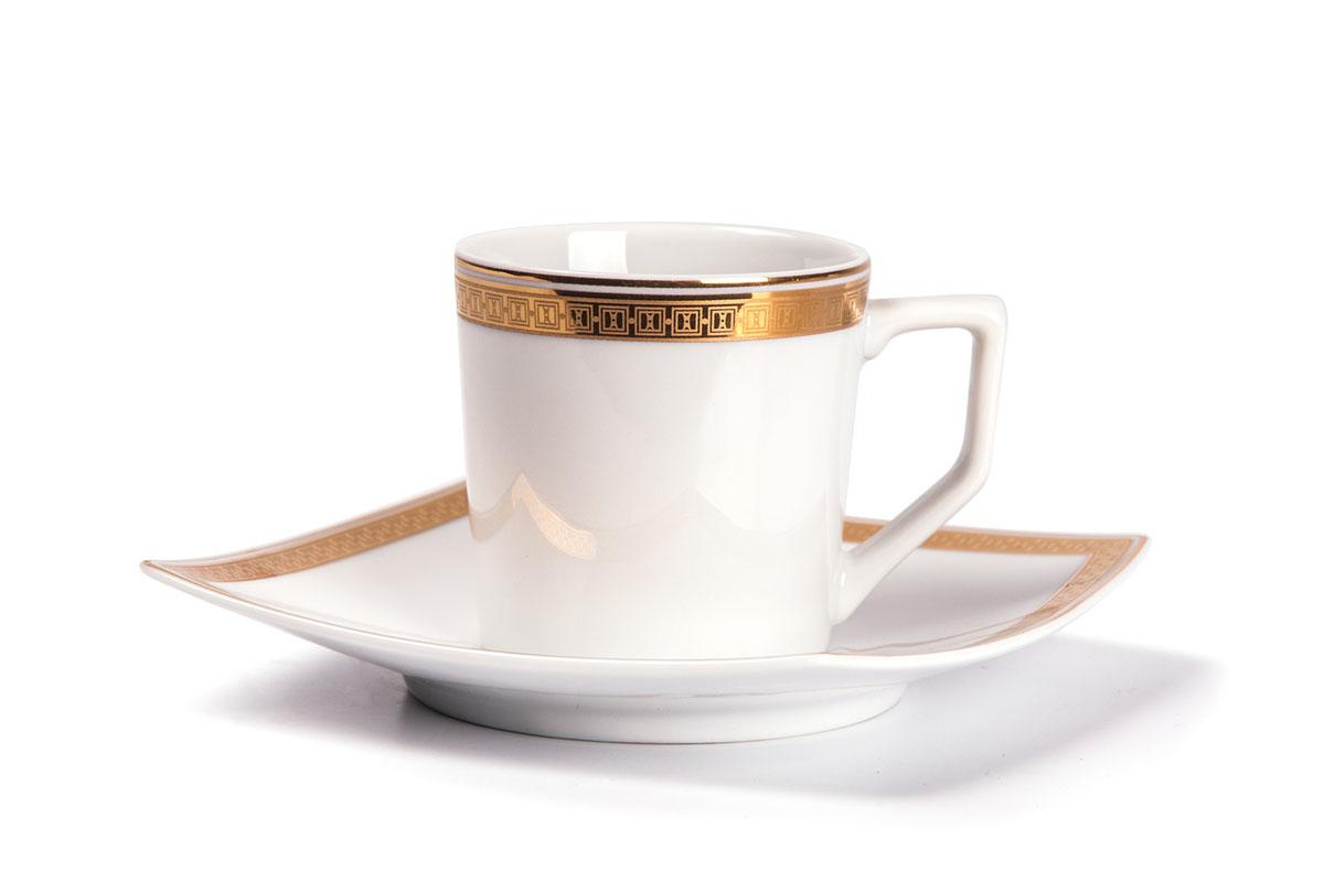 Kyoto 1555 набор кофейных пар 12 пр., цвет: белый с золотомCM000001328Кофейная пара 120 мл * 6 штук/ 12 предметов Материал: фарфор: цвет: белый с золотомСерия: KYOTO