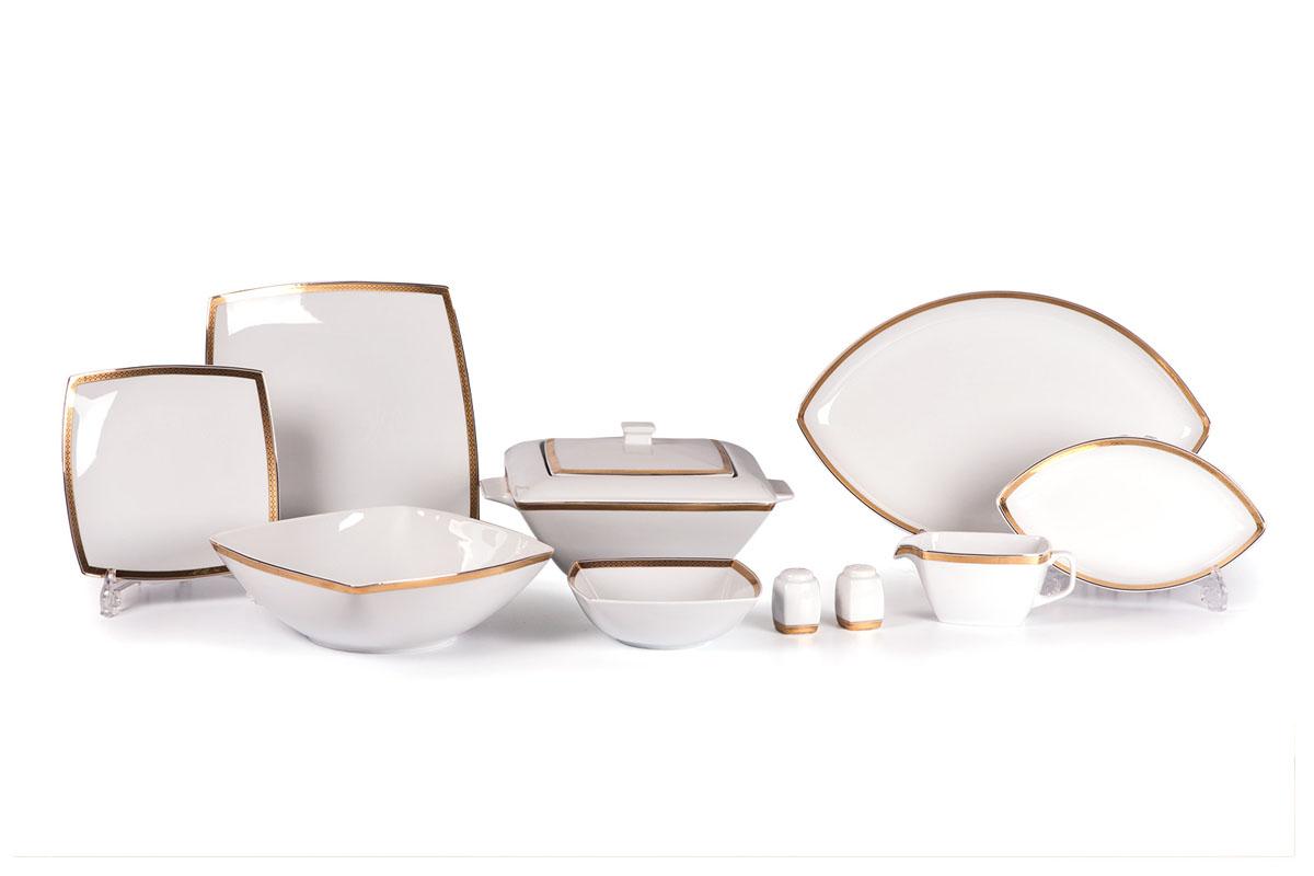 Kyoto 1555 столовый сервиз 25 пр. золото , цвет: белый с золотом115610Супница 2,8 л , глубокая тарелка 22 см 6 штук , тарелка 26 см 6 штук , десертная тарелка 20 см 6 штук , солонка, перечница, Блюдо овальное 25 см, Блюдо овальное 40 см , салатник 25см, соусник 230мл.Элегантная посуда класса люкс теперь на вашем столе каждый день. Сделанные из высококачественного материала с использованием новейших технологий, предметы сервировки Tunisie Porcelaine невероятно прочны и прекрасно подходят для повседневного использования. Материал: фарфор: цвет: белый с золотомСерия: KYOTO