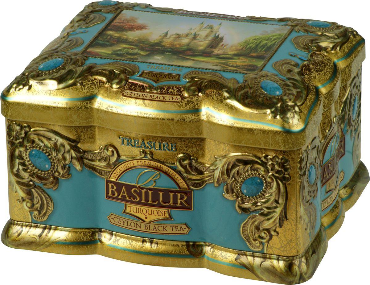 Basilur Turquoise черный листовой чай, 100 г (жестяная банка)0120710Чёрный цейлонский байховый листовой чай Basilur Turquoise с кусочками манго и папайи, лепестками цветов и ароматами корицы и персика взбодрит и подарит тепло в течение всего дня.Красивая шкатулка с изображением замка будет приятным подарком к любому празднику, а также прекрасно украсит любое чаепитие!