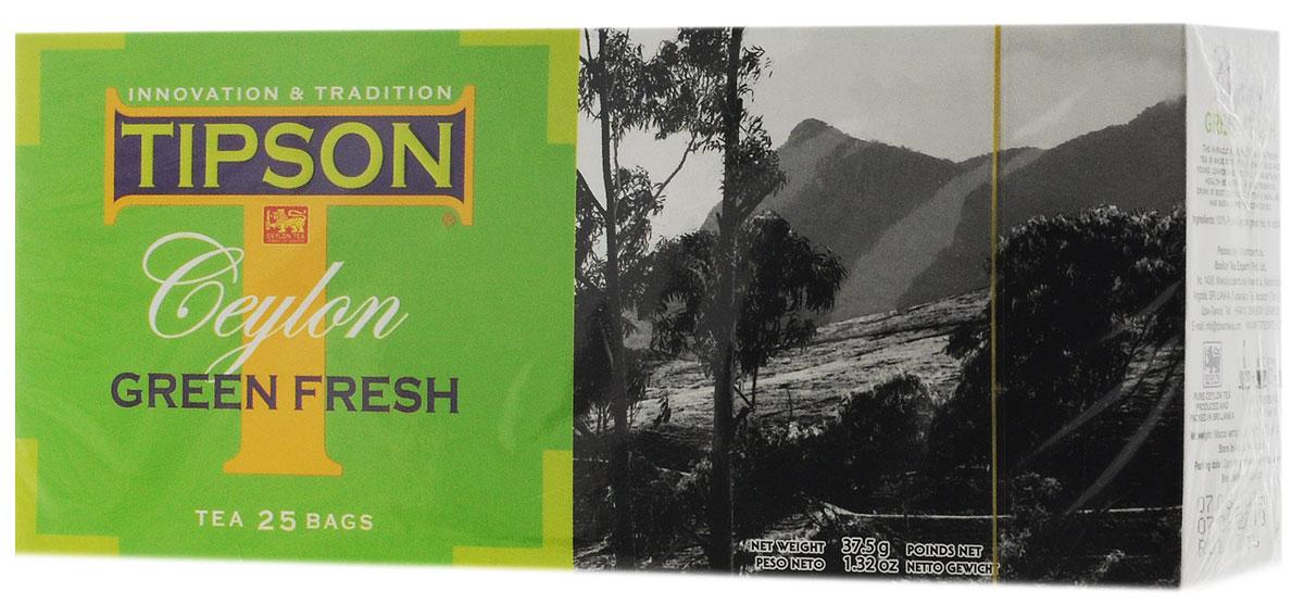 Tipson Green Fresh зеленый чай в пакетиках, 25 шт80014-00Чай зелёный цейлонский байховый мелколистовой Tipson Green Fresh в пакетиках с ярлычками для разовой заварки. Самые нежные и молодые чайные листья использованы в приготовлении Green Fresh, благодаря чему этот освежающий напиток обладает целебными свойствами и гармоничными вкусом.