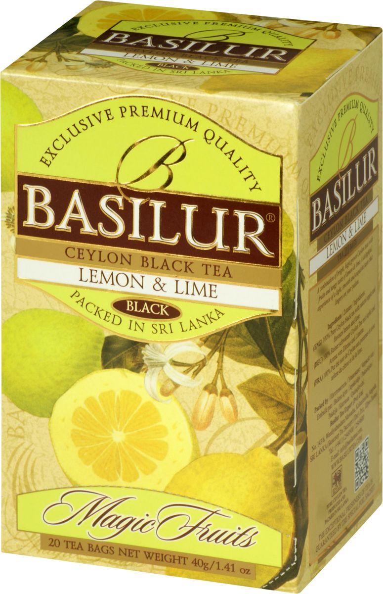Basilur Lemon and Lime черный чай в пакетиках, 20 шт70180-00Чай чёрный цейлонский байховый мелколистовой Basilur Lemon and Lime с яблоком и ароматами лимона и лайма в пакетиках с ярлычками для разовой заварки. Великолепный купаж элитных сортов чёрного высокогорного цейлонского чая, дополненный свежим, лёгким ароматом лимона и лайма, создает неповторимый вкус Basilur Lemon & Lime, оставляющий нежное и мягкое послевкусие.