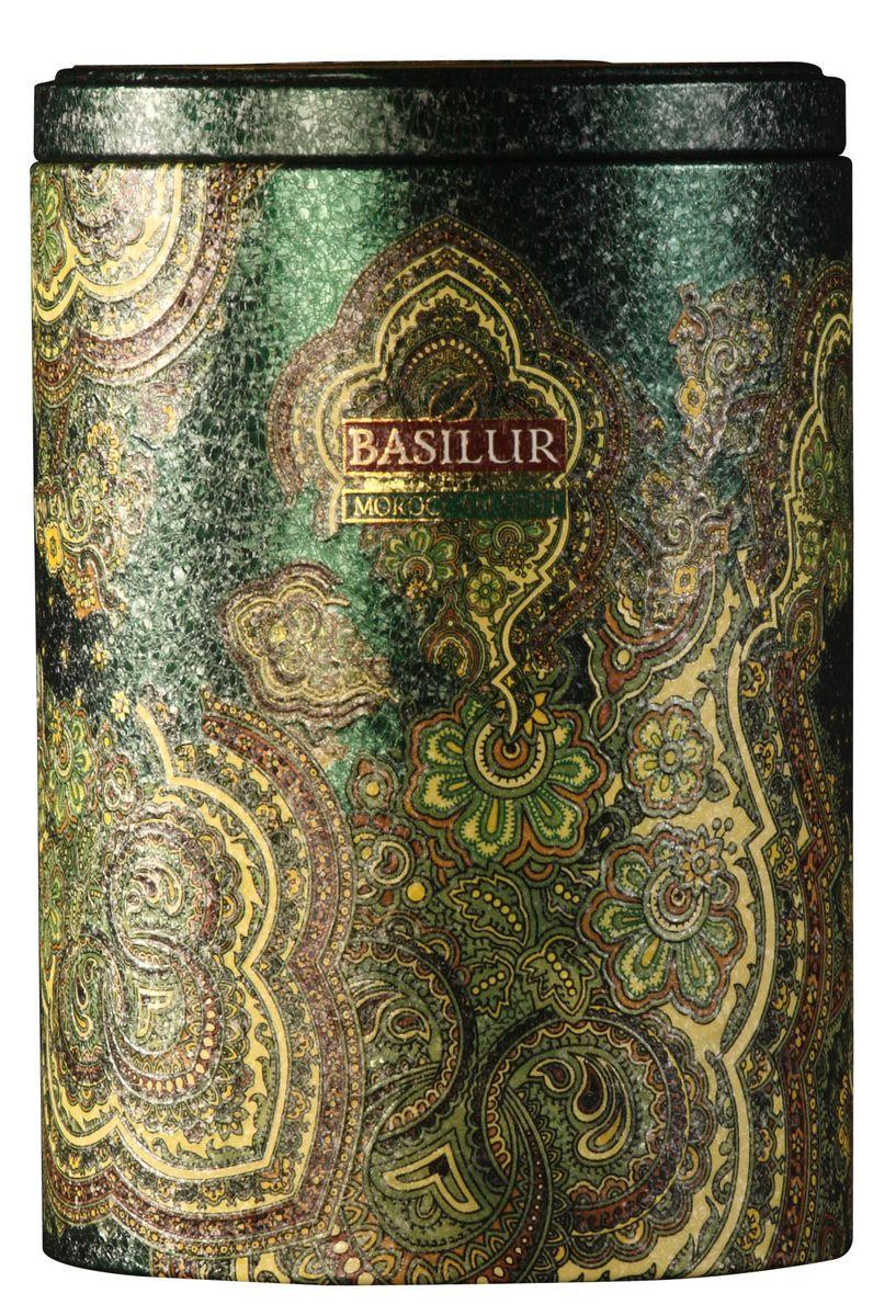 Basilur Moroccan Mint зеленый листовой чай, 100 г (жестяная банка)0120710Зелёный цейлонский байховый листовой чай Basilur Moroccan Mint с листьями и ароматом марокканской мяты прекрасно тонизирует в течение всего дня.Очень популярный на Востоке зеленый чай с ароматом марокканской мяты подарит свежесть, бодрость и энергию.