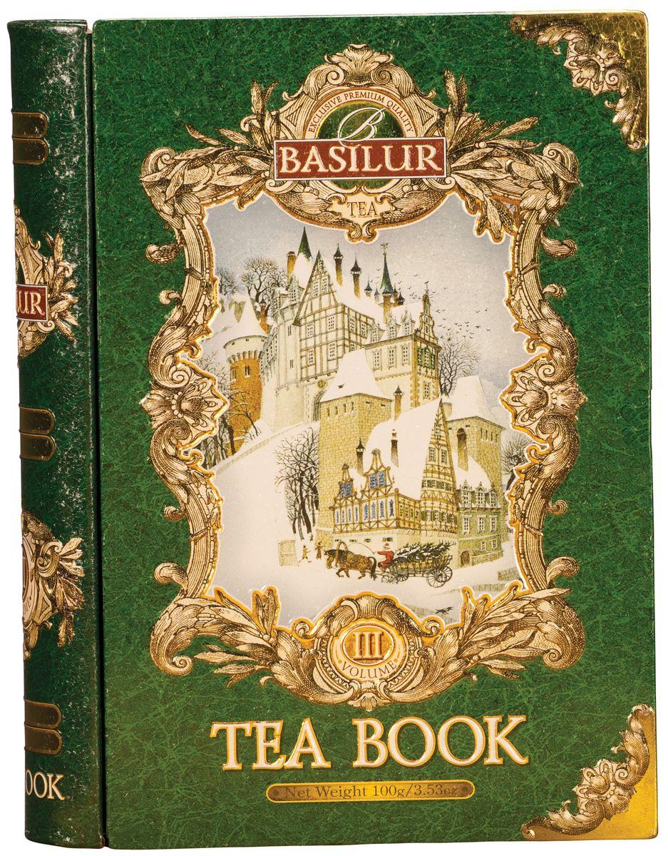 Basilur Tea Book III зеленый листовой чай, 100 г (жестяная банка)0120710Баночка чая Basilur Tea Book III выполнена в виде книги сказок, внутри которой находится пакет цейлонского листового зеленого чая с добавлением ягод клубники и клюквы, с ароматом дыни.