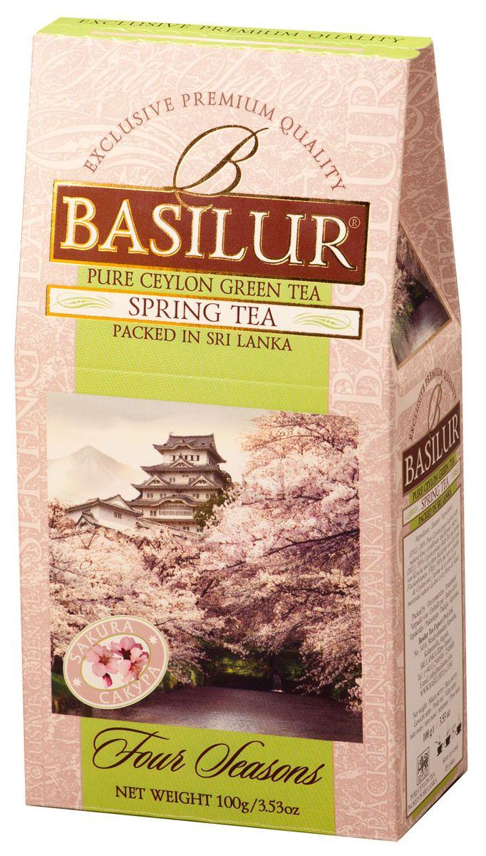 Basilur Spring Tea зеленый листовой чай, 100 г70338-00Чай зелёный цейлонский байховый листовой Basilur Spring Tea с кусочками помело и вишни, лепестками василька и ароматом вишни. Нежная красота распускающихся бутонов сакуры, как символ наступающей весны будет всегда поражать ваше воображение, если вы пьёте чай Basilur Весенний с ароматом вишни.