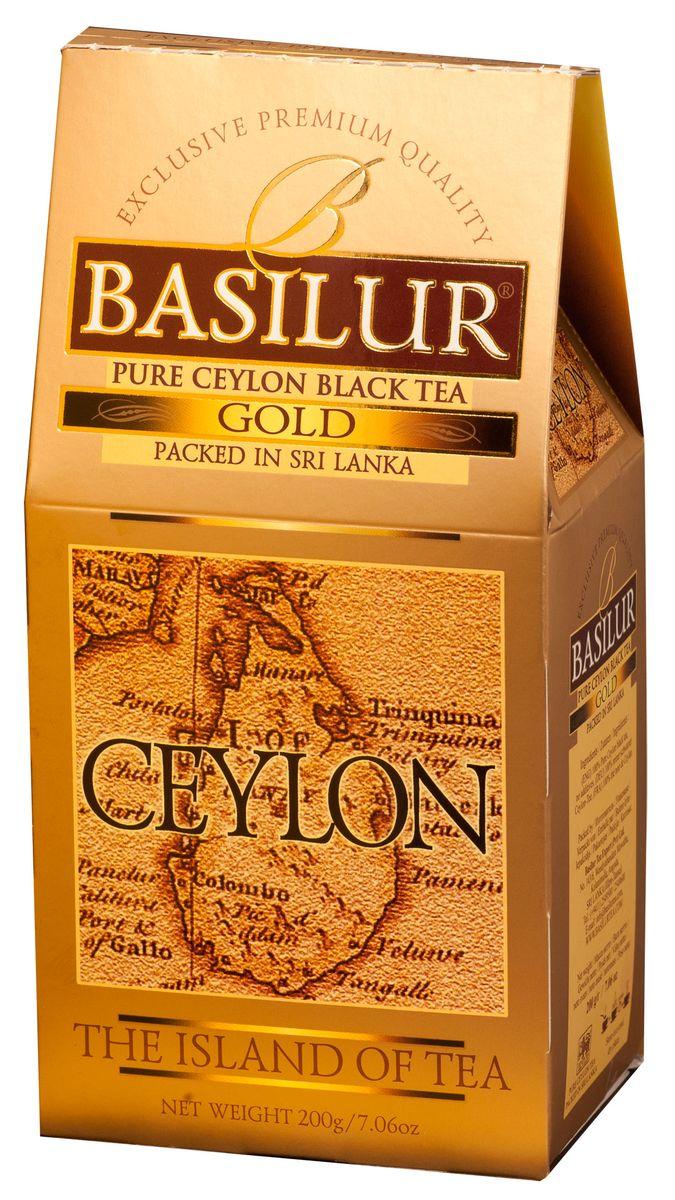 Basilur Gold черный листовой чай, 200 г0120710Basilur Gold - черный байховый листовой чай. Orange Pekoe 1 - высокий стандарт листового цейлонского чая, который сочетает в себе полноту вкуса с тонкими оттенками аромата, а благородный золотистый цвет его настоя делает чай поистине драгоценным.