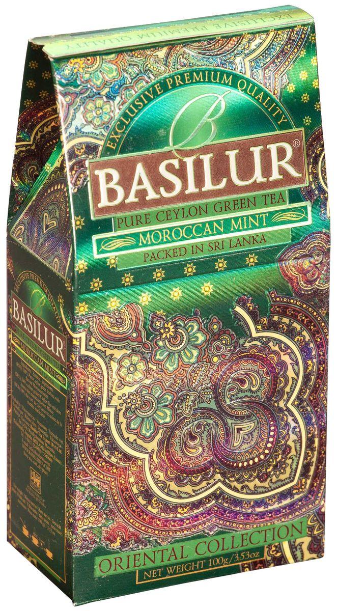 Basilur Moroccan Mint зеленый листовой чай, 100 г70427-00Чай зелёный цейлонский байховый листовой Basilur Moroccan Mint с листьями мяты и ароматом марокканской мяты. Очень популярный на Востоке зеленый чай с ароматом марокканской мяты подарит вам свежесть, бодрость и энергию на целый день.