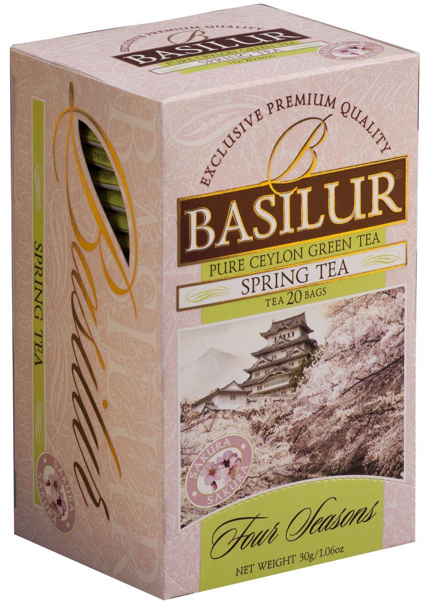 Basilur Spring Tea зеленый чай в пакетиках, 20 шт0120710Чай зелёный цейлонский байховый мелколистовой Basilur Spring Tea с ароматом вишни в пакетиках с ярлычками для разовой заварки. Нежная красота распускающихся бутонов сакуры, как символ наступающей весны будет всегда поражать ваше воображение, если вы пьёте чай Basilur Spring Tea с ароматом вишни.