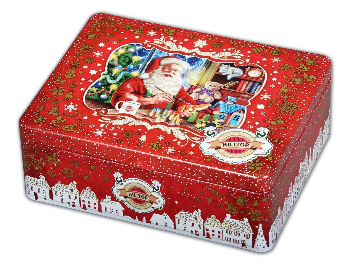 Hilltop Мастерская подарков набор черного и зеленого листового чая (шкатулка)4607099303393Hilltop Мастерская подарков это коллекция популярных сортов чая в шкатулках с тематическим оформлением. Жестяная шкатулка с крышкой содержит 4 жестяные чайницы и металлическое заварное ситечко. Праздничная упаковка порадует Вас и Ваших близких в новогодние праздники, а чай послужит прекрасным дополнением к новогоднему застолью! Королевское золото — черный чай стандарта Супер Пеко лучших плантаций Цейлона. Настой с глубоким золотистым цветом и изумительным ароматом. Зимняя вишня — крупнолистовой черный чай с добавлением кусочков ягод вишни. Дивная композиция аромата спелой вишни с ее природным кисло-сладким вкусом. 1001 Ночь — загадочная, как звездная ночь Востока, смесь черных и зеленых байховых чаев с лепестками розы, жасмина, подсолнечника и сафлора. Чай с бархатным вкусом и легким ароматом. Ароматизирован натуральными маслами. Китайский зеленый чай — высококачественный байховый крупнолистовой чай с красивым золотистым настоем.