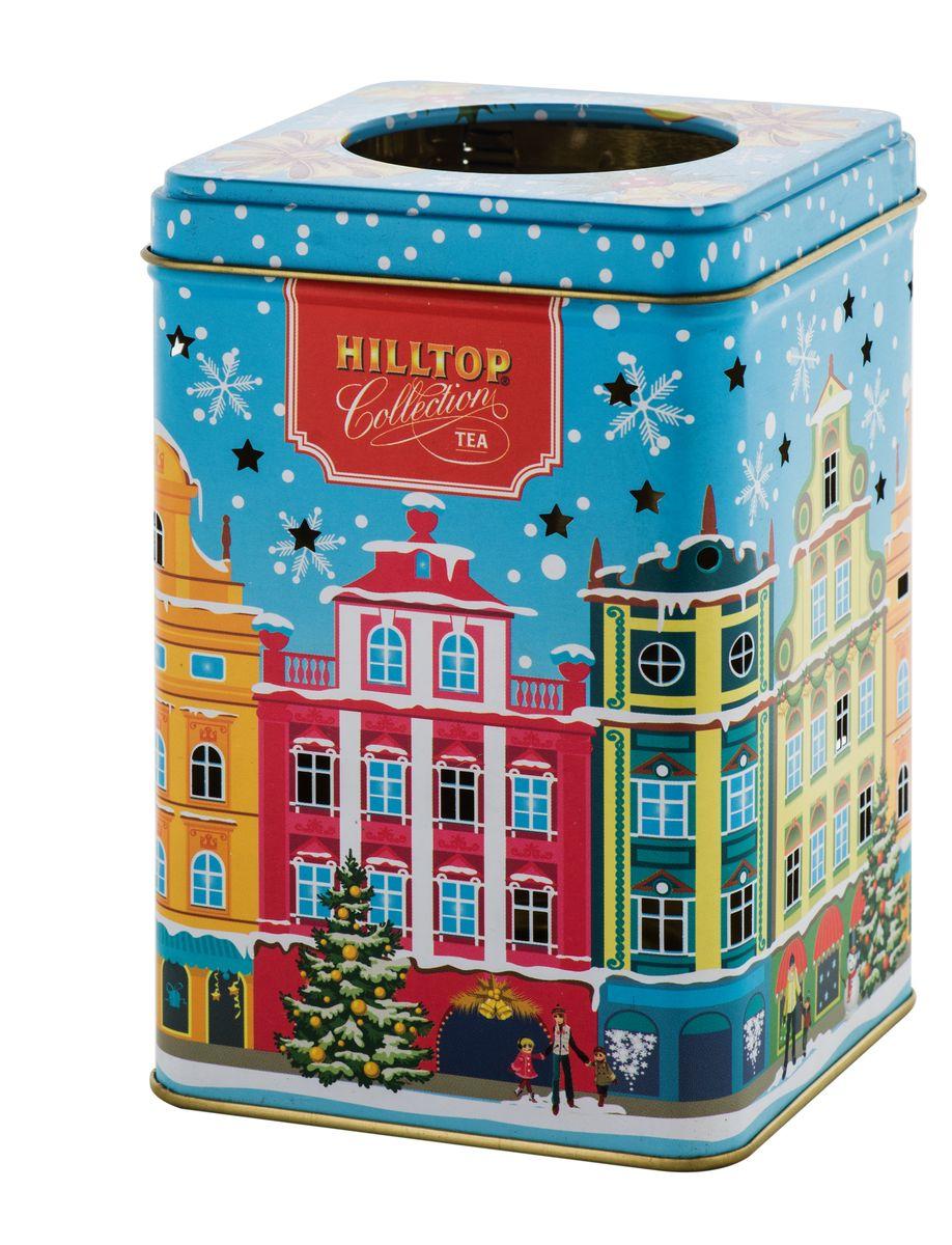 Hilltop Зимний город черный листовой чай, 100 г4607099304352Hilltop Зимний город - черный крупнолистовой чай с цедрой апельсина и ароматом бергамота. Праздничная нарядная упаковка будет великолепно смотреться на семейном новогоднем застолье.