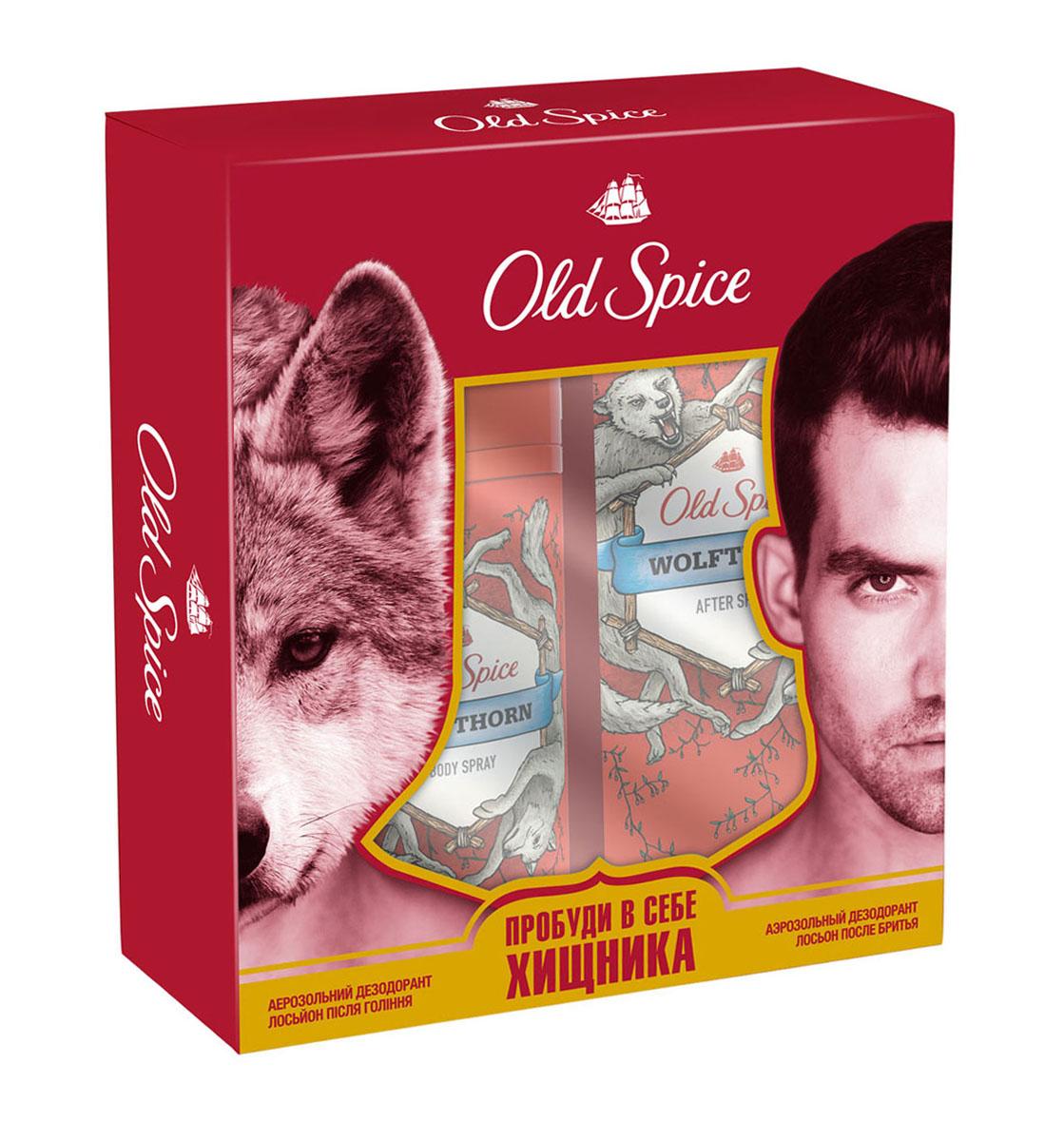 Old Spice Подарочный набор WOLFTHORN: Аэрозольный дезодорант 125 мл + Лосьон после бритья 100млOS-81543776Пробуди в себе хищника! Old Spice Wolfthorn – это аромат звериного желания и колючей шерсти. Если запах колючей шерсти – это не то, что ты ищешь в аромате, то как насчет этого: Wolfthorn – это аромат нежных поцелуев бабочек и таинственного леденящего взгляда, от которого даже по спинам эскимосов бегут мурашки.