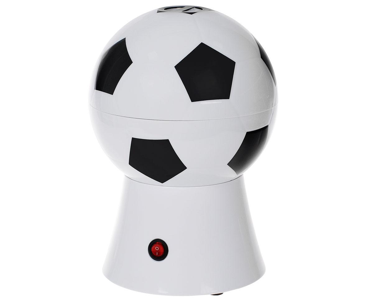 Аппарат для приготовления попкорна Bradex Мяч, цвет: черный, белыйTK 0152Аппарат для попкорна Bradex Мяч, изготовленный из поликарбоната, алюминия и термопластика в виде футбольного мяча, позволит вам в домашних условиях приготовить свежий, вкусный, хрустящий попкорн и наслаждаться любимым фильмом в уютной обстановке. Аппарат работает от электросети и оснащен металлическим котлом, который разогревается до нужной температуры. Готовый попкорн ссыпается через специальное отверстие. Интересный и стильный дизайн никого не оставит равнодушным. В комплект входит: инструкция для приготовления попкорна. Размер аппарата: 29 см х 20 см х 20 см. Мощность: 1200 Вт. Напряжение: 230 В. Объем: 270 мл.