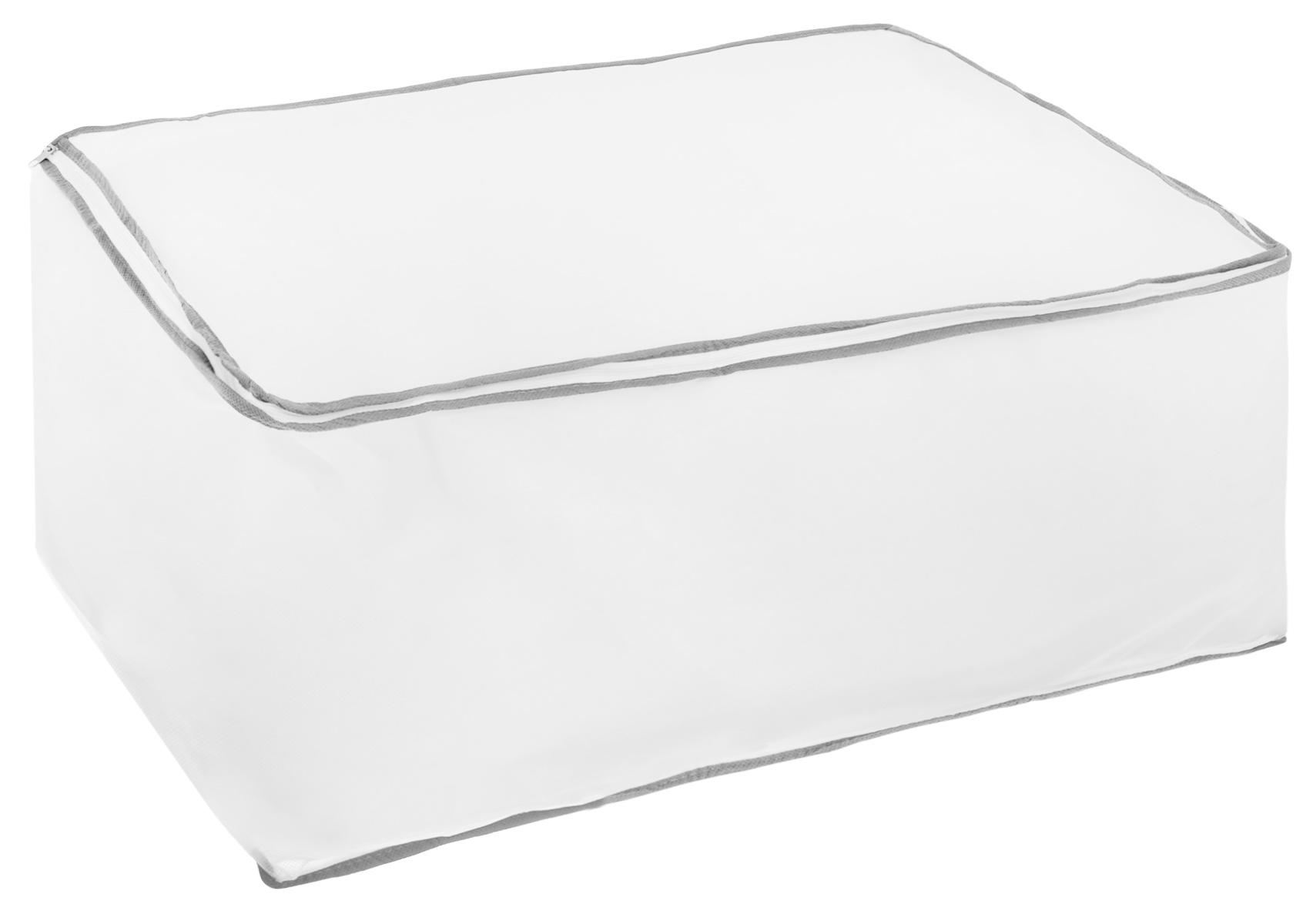 Кофр для хранения Hausmann, цвет: белый, серый, 60 х 40 х 30 см2B-26040Кофр Hausmann, предназначенный для хранения и транспортировки вещей, изготовлен из нетканого материала высокого качества. Особая фактура ткани не пропускает пыль и при этом позволяет воздуху свободно проникать внутрь, обеспечивая естественную вентиляцию. Материал легок, удобен и не образует складок. Особая конструкция позволяет при необходимости одним движением сложить или разложить чехол.