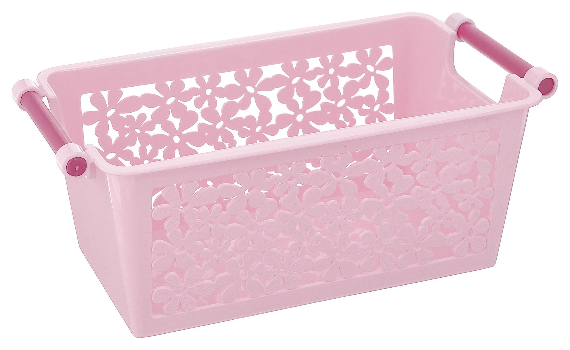 Корзина Альтернатива Романтика, цвет: розовый, фиолетовый, 23 см х 12 см х 9 смМ1783_розовый, фиолетовыйУниверсальная корзина Романтика, выполненная из пластика, предназначена для хранения мелочей в ванной, на кухне, на даче или в гараже. Боковые стенки перфорированные. Корзина позволяет хранить мелкие вещи, исключая возможность их потери.