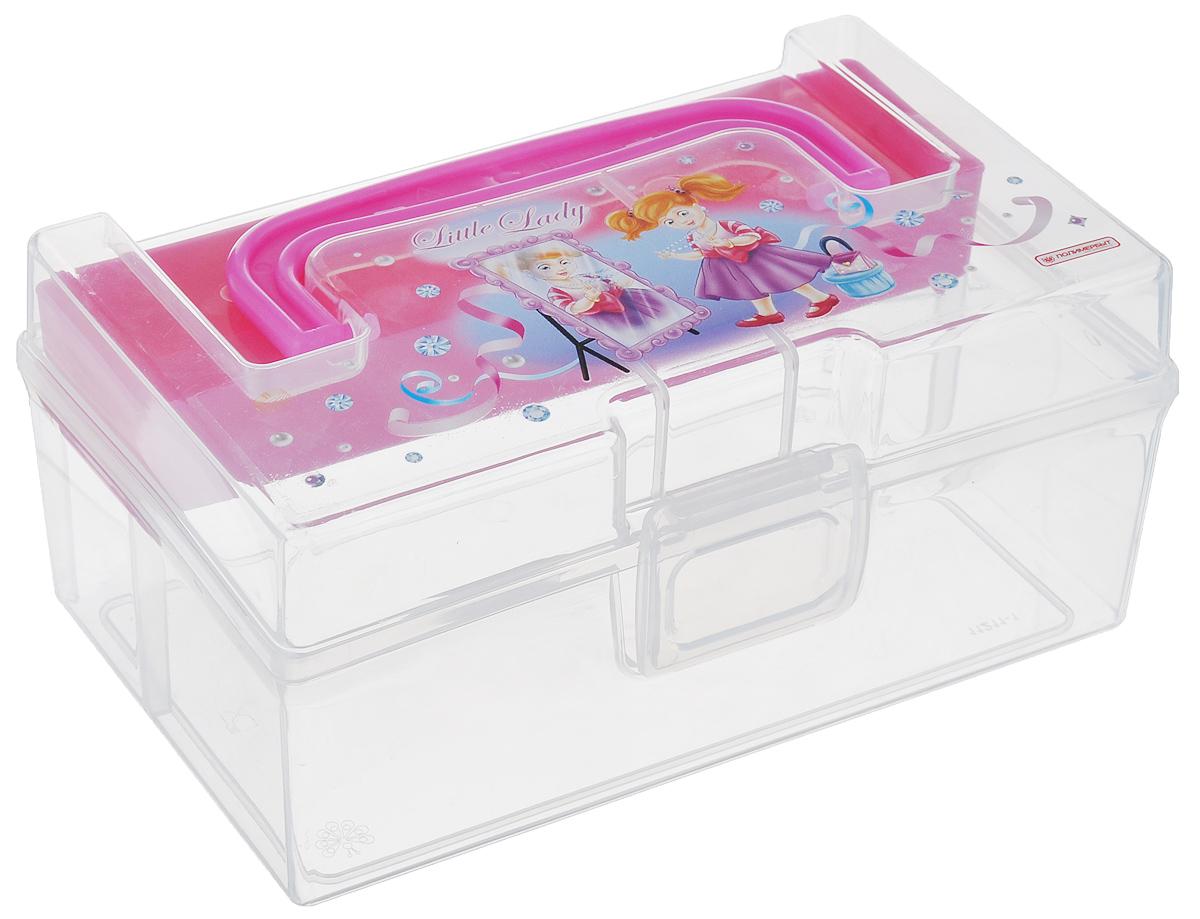 Коробка для мелочей Полимербыт Kids Box, с вкладышем, цвет: розовый, прозрачный, 17 х 10,8 х 7,8 смС30902_розовыйКоробка Полимербыт Kids Box выполнена из прочного пластика и подходит для хранения канцелярских принадлежностей, рукоделия и различных бытовых мелочей. Для удобной переноски коробка имеет ручку. Изделие оснащено вкладышем, который служит дополнительным местом для хранения. Коробка оформлена красочным изображением.