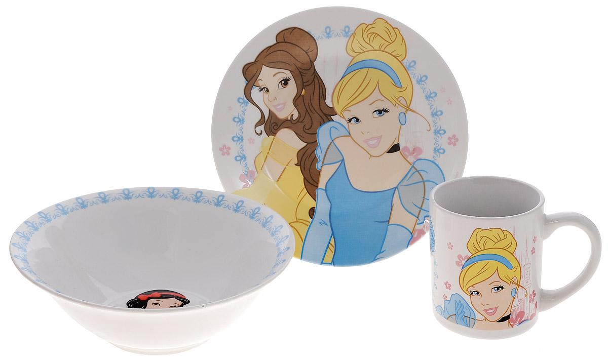 Disney Набор посуды Принцессы, 3 предмета794004уткиКрасочный набор посуды Принцессы, выполненный из качественной керамики, идеально подойдет для повседневного использования.В комплект входят: тарелка диаметром 19 см, салатник диаметром 17,5 см и кружка объемом 210 мл. Все предметы выполнены в оригинальном дизайне с изображениями принцесс Disney. Набор упакован в коробку из плотного картона.Набор посуды непременно доставит массу удовольствия своему обладателю.Допустимо использование в посудомоечной машине и СВЧ. Рекомендуется для детей от 3 лет.