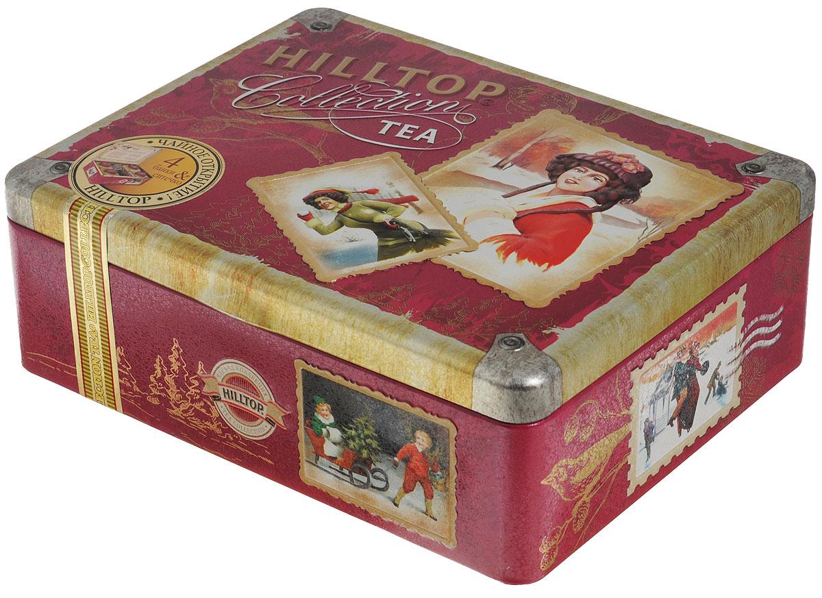 Hilltop Ретро-чемоданчик набор черного и зеленого листового чая (шкатулка)0120710Hilltop Ретро-чемоданчикхорош для посиделок в семейном кругу... или — в компании лучших друзей! Жестяная шкатулка с крышкой и четырьмя жестяными чайницами, а также металлическое заварное ситечко в комплекте просто созданы для того, чтобы организовать чаепитие!Цейлонский чай — особый сорт черного цейлонского байхового среднелистового чая, содержащий большое количество эфирных масел, с богатым вкусом, насыщенным ароматом и выраженным тонизирующим эффектом.Волшебная луна — необычная смесь цейлонского черного чая и зеленого чая Сенча. Необычная, как сама тайна... С добавлением лепестков подсолнечника, розы, плодов шиповника и кусочков папайи. С нотами натурального масла дыни, смородины, земляники и абрикоса.Спешиал Ганпауда — зеленый чай с насыщенным терпким вкусом.