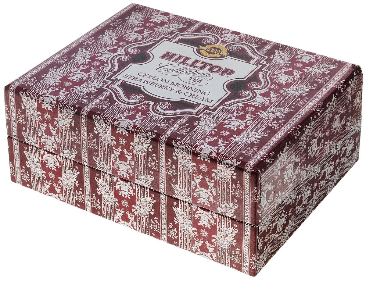 Hilltop Бордовая шкатулка черный листовой чай, 120 г0120710Идеальный набор черногои ароматизированного чая — классика и винтаж… Hilltop Бордовая шкатулка в картонной коробке с крышкой содержит 2 восьмигранные картонные чайницы ручной работы.Цейлонское утро — классический цейлонский черный чай с терпким вкусом, мягким ароматом и тонизирующими свойствами. Отлично дополняет завтрак или праздничный сладкий стол.Земляника со сливками — крупнолистовой черный чай с листьями и плодами земляники, и со вкусом свежих сливок. Классика ароматизированных чаев. Попробуйте охлажденным, с добавлением кусочков льда!