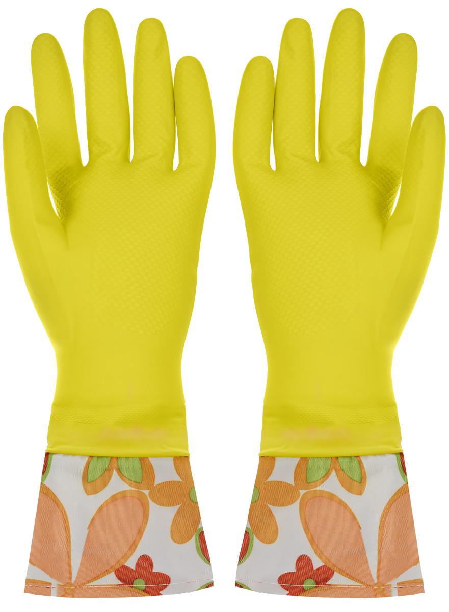 Перчатки хозяйственные Youll love, с манжетами, цвет: желтый. Размер M10503Перчатки Youll love изготовлены из высокопрочного латекса и незаменимы при различных хозяйственных работах. Внутреннее хлопковое покрытие обеспечивает комфорт рукам и защищает от раздражений. Высокие манжеты препятствуют попаданию воды и грязи. Благодаря рифленой поверхности удобно удерживать мокрые предметы.
