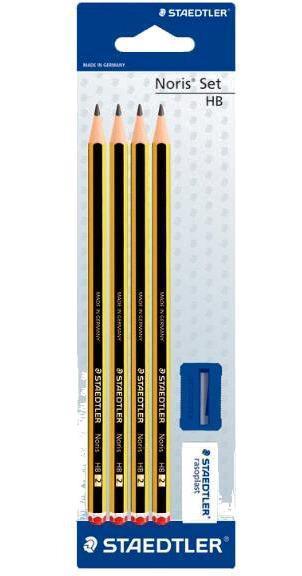 Карандаши чернографитные Noris HB 4 шт. + ластик 526B40 + точилка 51050, блист.упак. Staedtler120S1BK4D