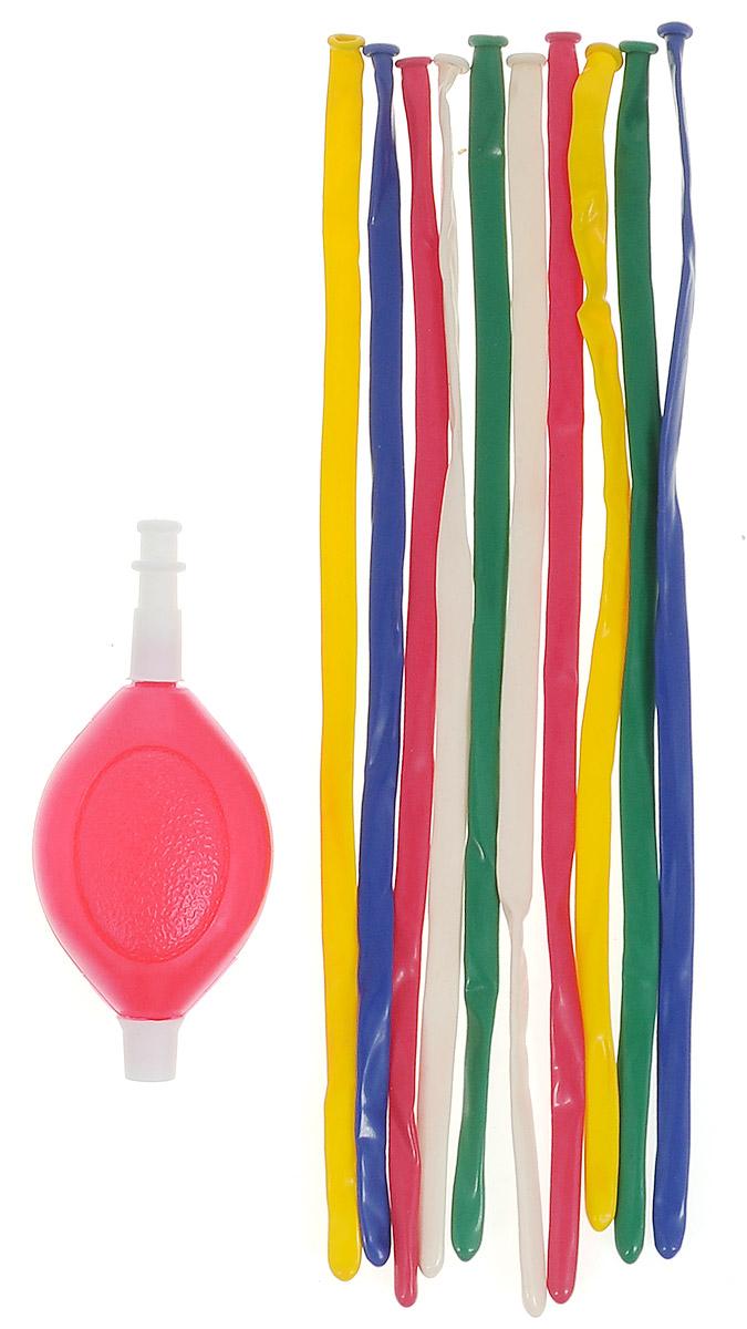 """Веселая затея Набор воздушных шаров для моделирования """"Шарики-колбаски"""", с насосом, 10 шт 1111-0200"""