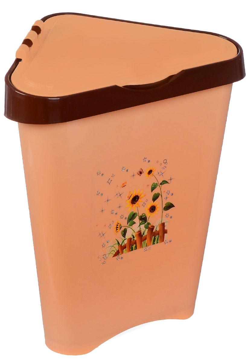 Контейнер для мусора Альтернатива, цвет: персиковый, коричневый, 7 лUP210DFУгловой контейнер для мусора Альтернатива изготовлен из высококачественного цветного пластика и оснащен удобной крышкой, которая открывается одним движением руки и сама закрывается. Изделие украшено рисунком подсолнухов.Вместительный и компактный контейнер подойдет для дома, дачи, офиса.