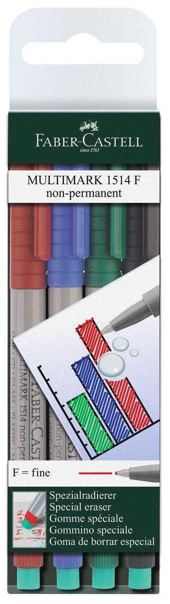 Faber-Castell Капиллярная ручка Multimark F для письма на пленке 4 цвета151404Капиллярная ручка Multimark предназначена для письма на CD, DVD дисках, пленках для проекторов и других гладких поверхностях. Ручка с обратной стороны содержит специальный ластик для стирания чернил. Чернила быстросохнущие, с яркими цветами, корпус изготовлен из прочного пластика. В наборе 4 цвета: черный, красный, синий, зеленый.