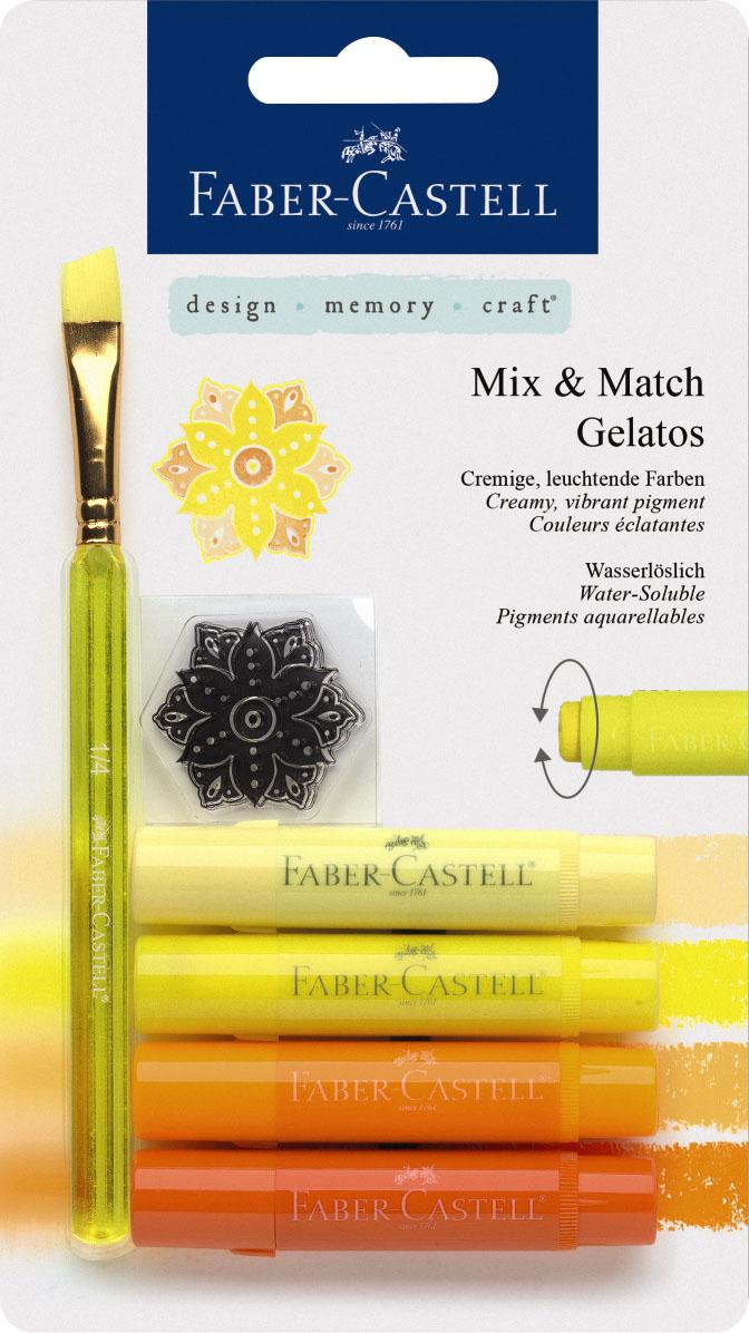 Faber-Castell Восковые мелки Gelatos цвет желтый 4 шт121801Новый уникальный продукт Gelatos от Faber-Castell не имеет аналогов на рынке. Он не содержит вредных веществ, очень гладко наносится на поверхность, имеет яркие и насыщенные цвета, которые легко смешиваются. Gelatos легко наносится на бумагу, холст или дерево и великолепно сочетается с другими арт-продуктами Faber-Castell. Этот продукт идеально подходит как для начинающих, так и для опытных художников. В набор также входят штамп и кисточка.