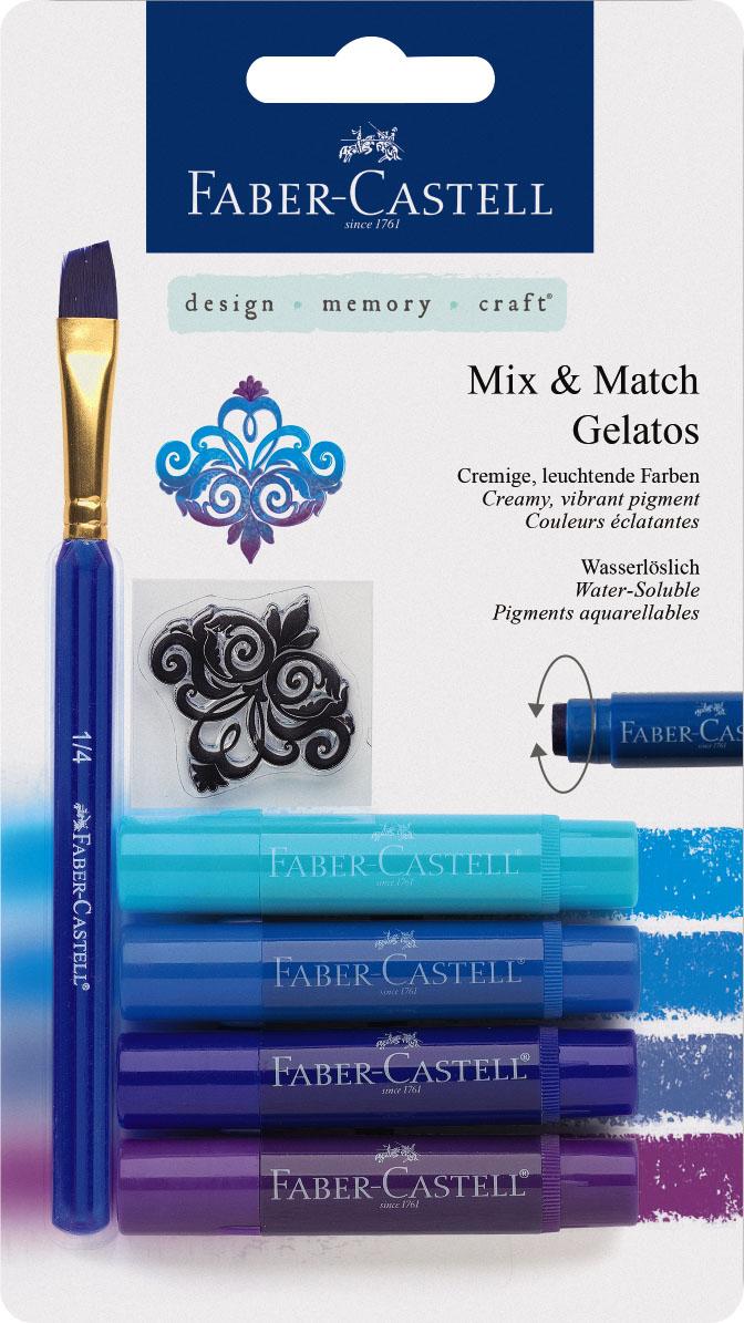 Faber-Castell Восковые мелки Gelatos цвет синий 4 штLF806309Новый уникальный продукт Gelatos от Faber-Castell не имеет аналогов на рынке. Он не содержит вредных веществ, очень гладко наносится на поверхность, имеет яркие и насыщенные цвета, которые легко смешиваются. Gelatos легко наносится на бумагу, холст или дерево и великолепно сочетается с другими арт-продуктами Faber-Castell. Этот продукт идеально подходит как для начинающих,так и для опытных художников. В набор также входят штамп и кисточка.