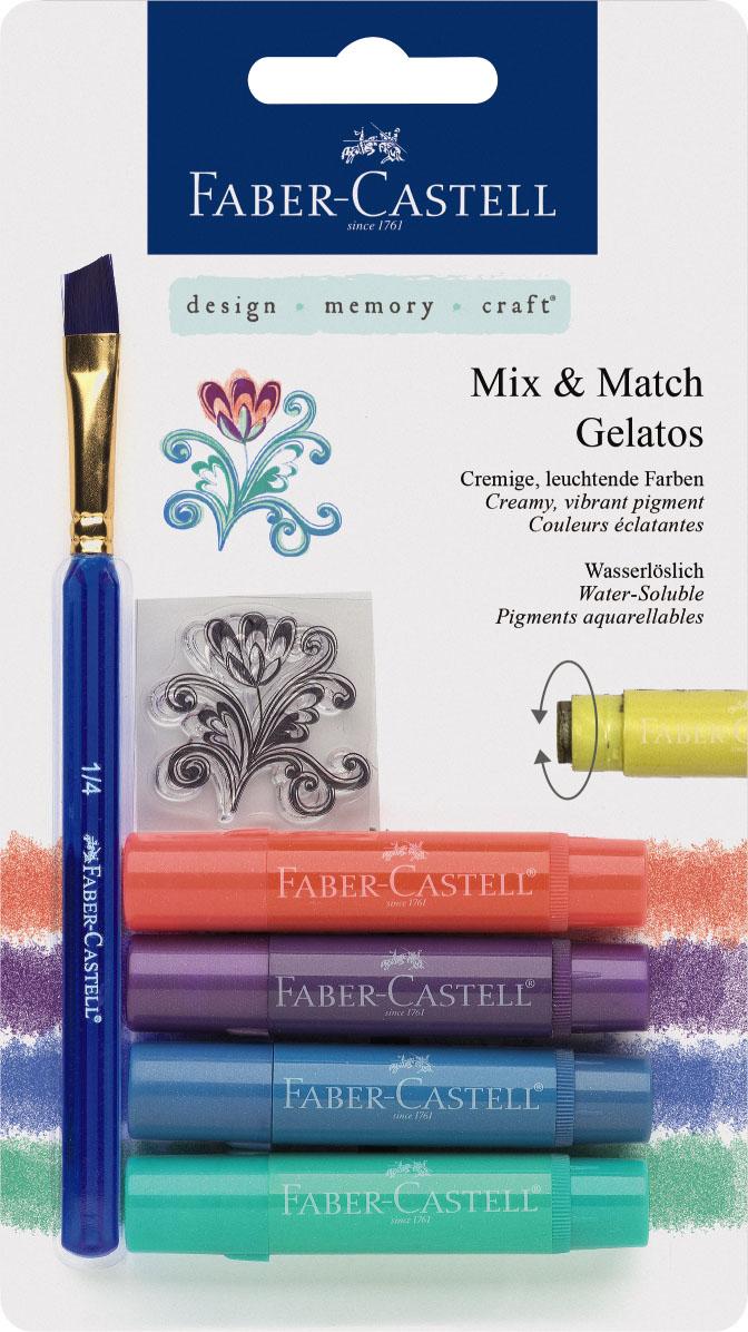 Faber-Castell Восковые мелки Gelatos цвет металлик 4 штFS-36054Новый уникальный продукт Gelatos от Faber-Castell не имеет аналогов на рынке. Он не содержит вредных веществ, очень гладко наносится на поверхность, имеет яркие и насыщенные цвета, которые легко смешиваются. Gelatos легко наносится на бумагу, холст или дерево и великолепно сочетается с другими арт-продуктами Faber-Castell. Этот продукт идеально подходит как для начинающих,так и для опытных художников. В набор также входят штамп и кисточка.