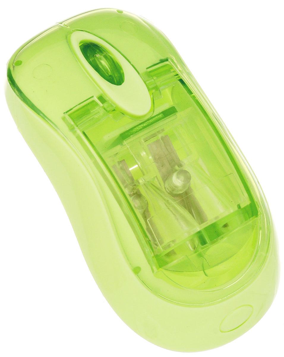 """Brunnen Точилка двойная """"Компьютерная мышь"""", цвет: салатовый 29839\BCD"""