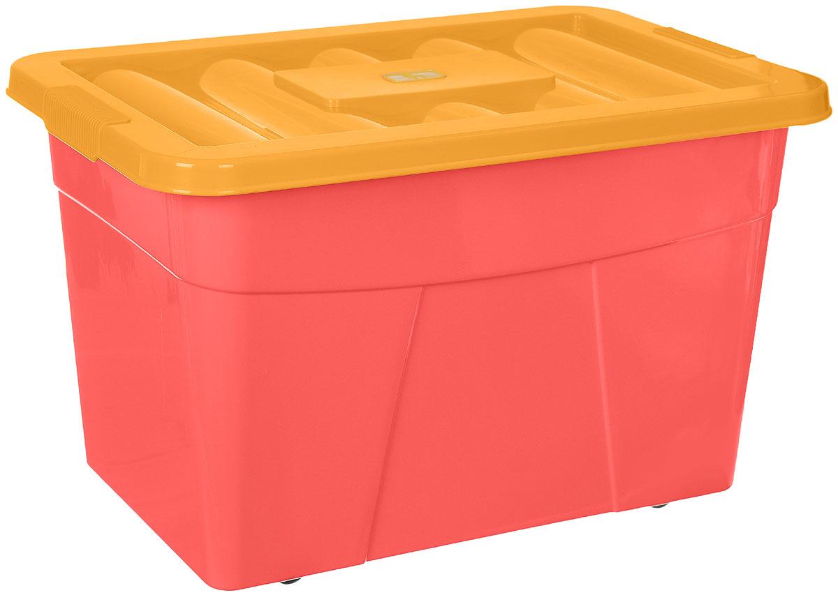 Пластишка Ящик для игрушек на колесиках цвет розовый оранжевый 60 х 40 х 36 смС12068_розовый, желтыйЯщик для игрушек Пластишка изготовлен из полипропилена без содержания бисфенола-А. В нем можно удобно и компактно хранить белье, одежду, обувь, игрушки. Ящик оснащен плотно закрывающейся крышкой, которая защитит вещи от пыли, грязи и влаги, и четырьмя колесиками, чтобы малыш мог его самостоятельно передвигать. Благодаря своей конструкции с закругленными углами ящик безопасен даже для самых маленьких детей. Яркий и оригинальный ящик станет незаменимым для хранения игрушек, книжек и других детских принадлежностей. Он отлично впишется в детскую комнату и поможет приучить ребенка к порядку.