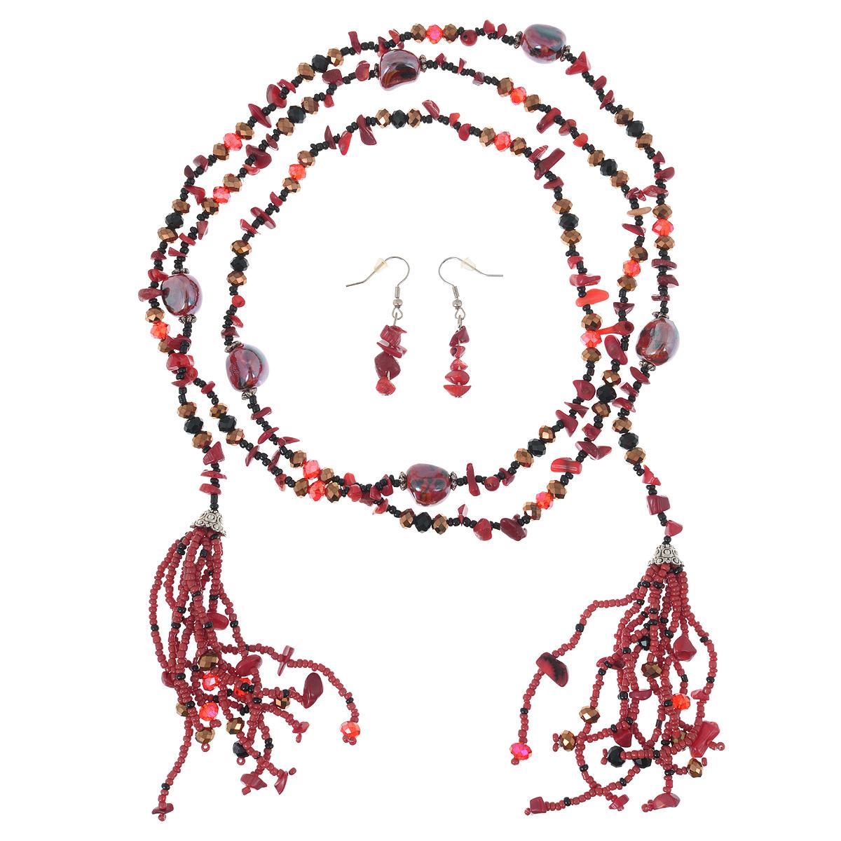 Колье Avgad, цвет: красный. H-477S840H-477S840Комплект украшений Avgad колье и серьги, выполнен в виде основы из ювелирной нити, на которую нанизаны бусины из чешского хрусталя, бисера, ювелирного сплава. Колье дополнено двумя кистями из бисера и бусин. Колье застегивается при помощи узла. Серьги выполнены в едином стиле с колье и оснащены замком-петля. Такой комплект украшений позволит вам с легкостью воплотить самую смелую фантазию и создать собственный, неповторимый образ.
