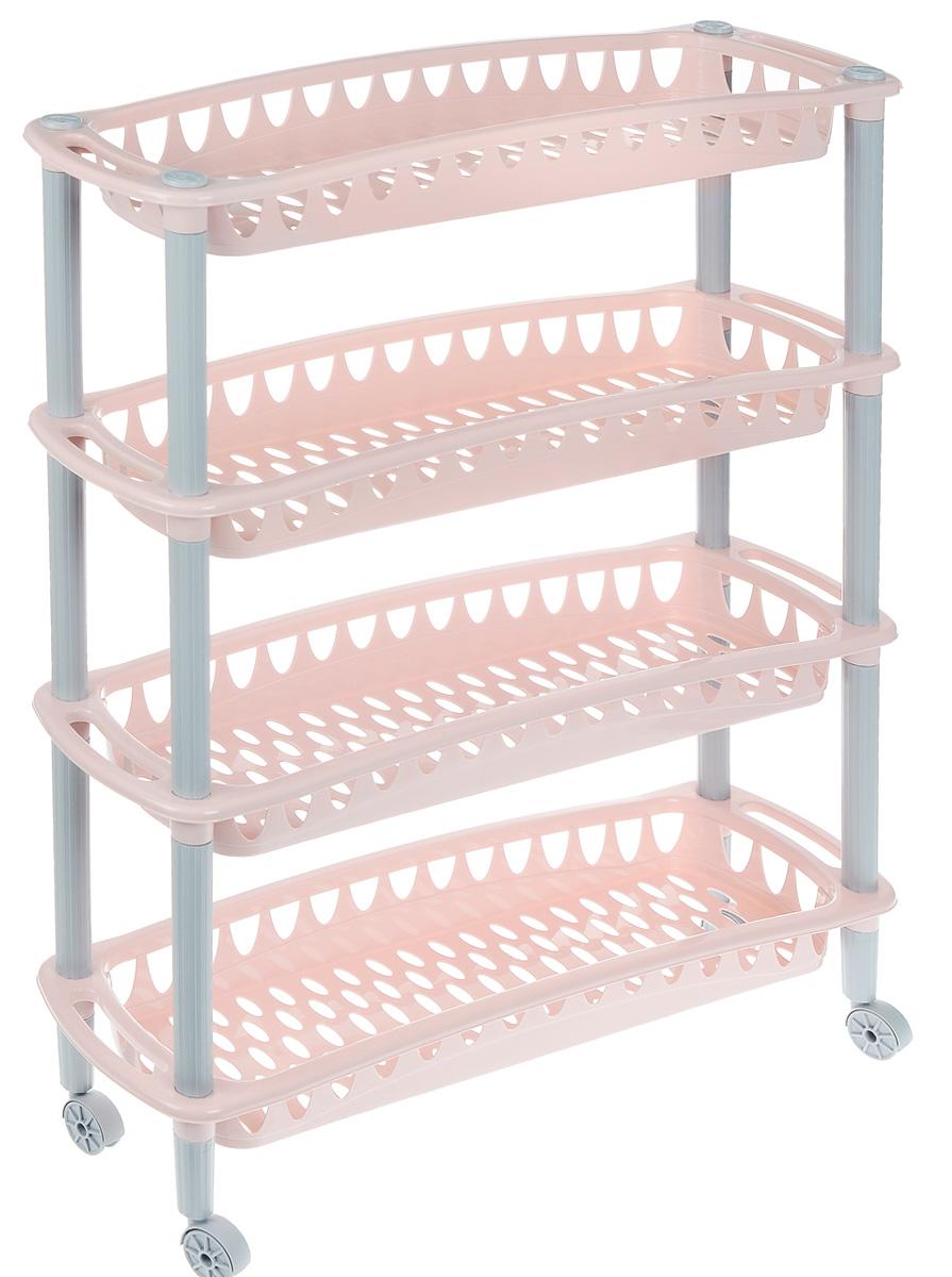 Этажерка Бытпласт Джулия, 4-х секционная, на колесиках, цвет: бледно-розовый, серый, 59 х 18 х 73 смС12414 _бледно-розовыйЭтажерка Бытпласт Джулия выполнена из высококачественного прочного пластика и предназначена для хранения различных предметов. Изделие имеет 4 полки прямоугольной формы с перфорированными стенками. Благодаря колесикам этажерку можно перемещать в любую сторону без особых усилий. В ванной комнате вы можете использовать этажерку для хранения шампуней, гелей, жидкого мыла, стиральных порошков, полотенец и т.д. Ручной инструмент и детали в вашем гараже всегда будут под рукой. Удобно ставить банки с краской, бутылки с растворителем. В гостиной этажерка позволит удобно хранить под рукой книги, журналы, газеты. С помощью этажерки также легко навести порядок в детской, она позволит удобно и компактно хранить игрушки, письменные принадлежности и учебники. Этажерка - это идеальное решение для любого помещения. Она поможет поддерживать чистоту, компактно организовать пространство и хранить вещи в порядке, а стильный дизайн сделает этажерку...