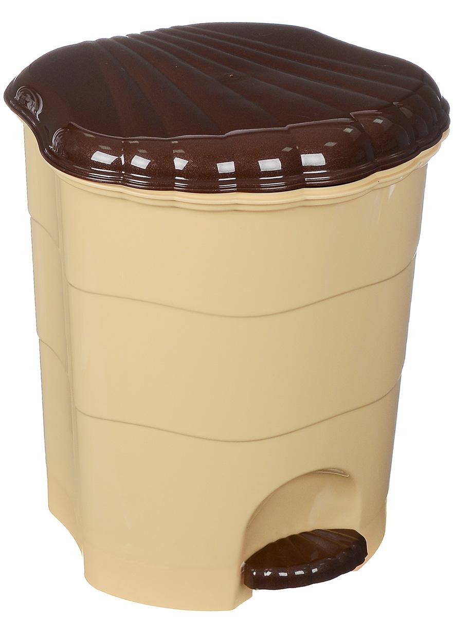 Контейнер для мусора Violet, с педалью, цвет: бежевый, коричневый, 11 лUP210DFМусорный контейнер Violet выполнен из прочного пластика, не боится ударов и долгих лет использования. Изделие оснащено педалью, с помощью которой можно открыть крышку. Закрывается крышка практически бесшумно, плотно прилегает, предотвращая распространение запаха. Внутри пластиковая емкость для мусора, которую при необходимости можно достать из контейнера. Интересный дизайн разнообразит интерьер вашего дома и сделает его более оригинальным.