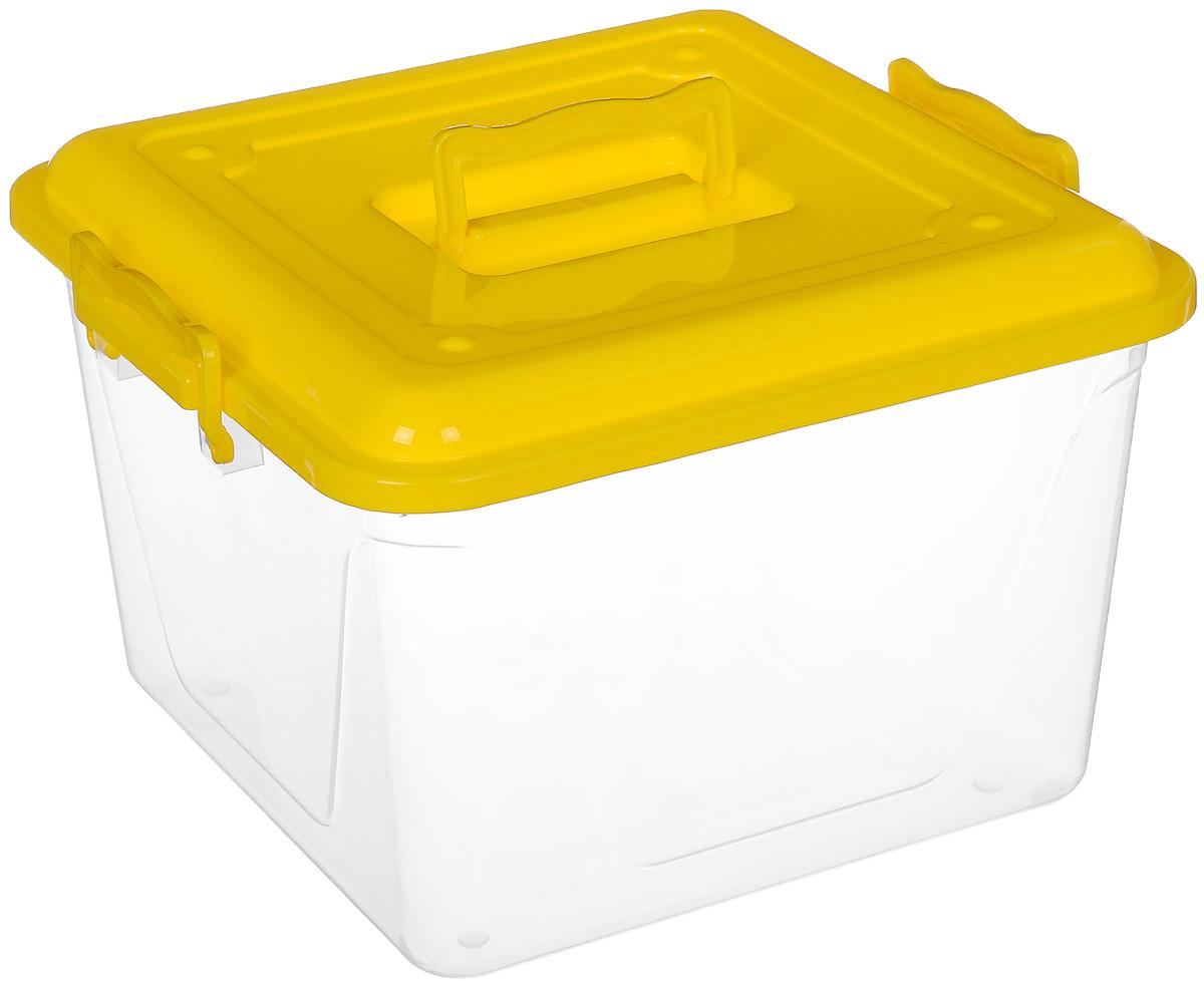 Контейнер Альтернатива, цвет: желтый, прозрачный, 15 лМ1023_желтыйКонтейнер Альтернатива выполнен из прочного цветного пластика и предназначен для хранения различных бытовых вещей и продуктов. Контейнер оснащен по бокам ручками, которые плотно закрывают крышку контейнера. Также на крышке имеется ручка для удобной переноски. Контейнер поможет хранить все в одном месте и защитить вещи от пыли, грязи и влаги.