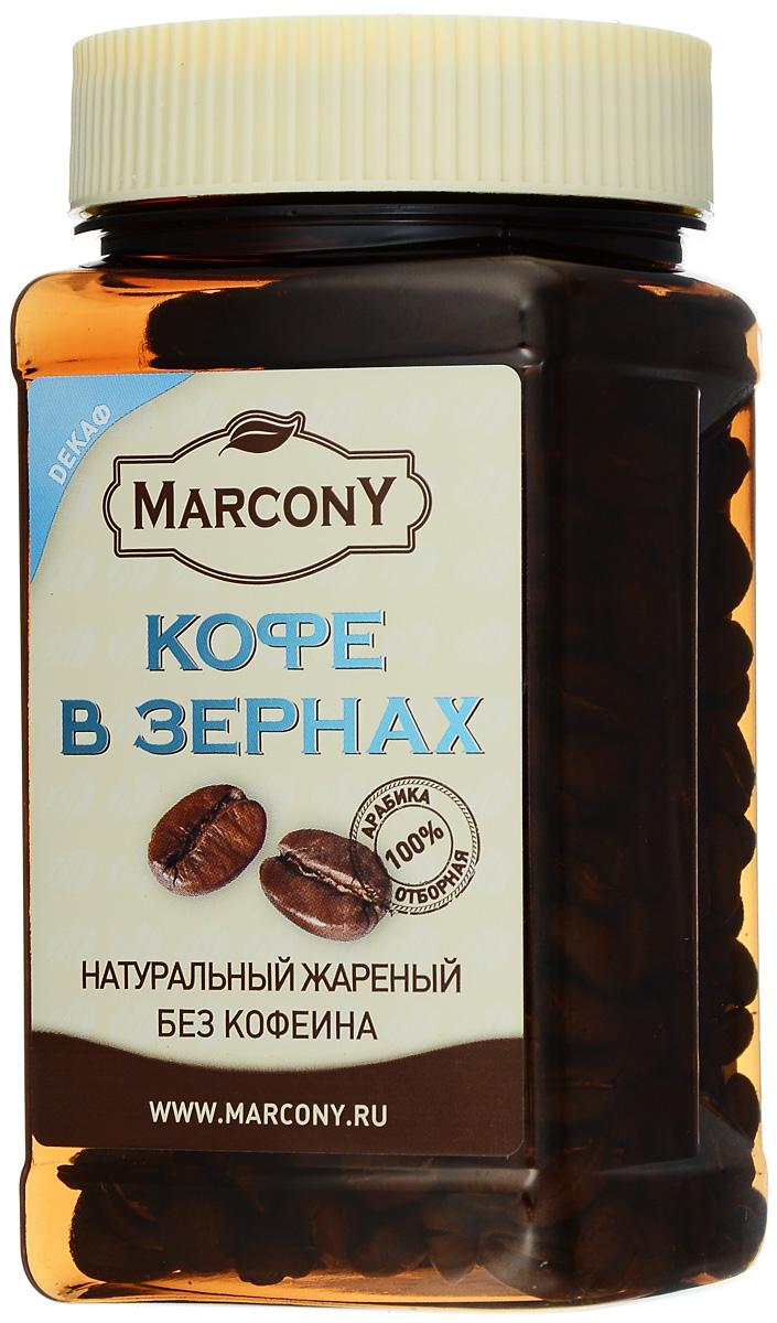 Marcony Декаф кофе в зернах, 100 г4602009356711Marcony Декаф - разумный выбор для ценителей кофе, имеющих ограничения в потреблении кофеина. Яркий букет вкуса этого сорта отличают бархат молочного шоколада с лёгкими цитрусовыми акцентами и тонкой линией свежести южно-американских цветущих садов.