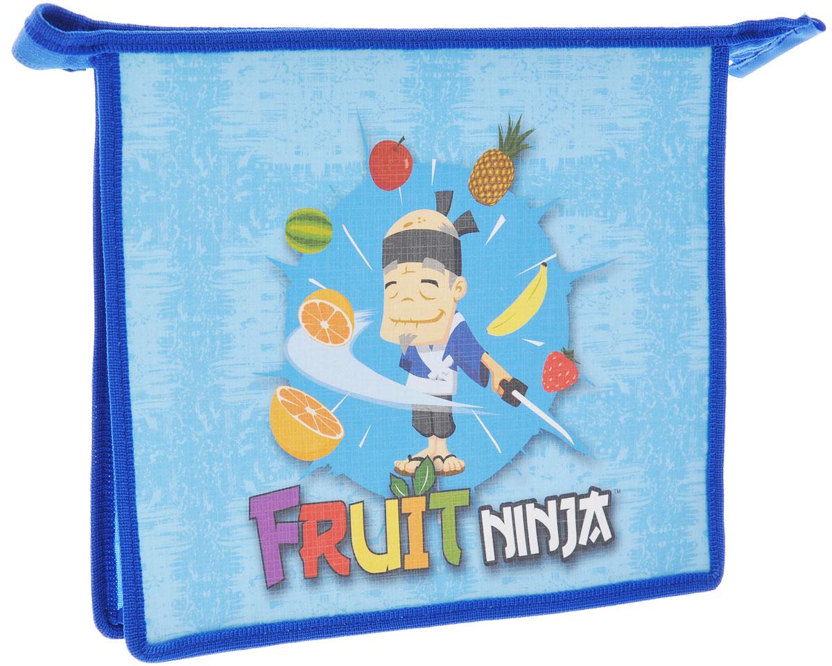 Action! Папка на молнии Fruit Ninja, цвет: синий. Формат A5611308Папка на молнии Action! Fruit Ninja формата А5 - это оптимальный способ уберечь от деформации тетради, документы, рисунки и прочие бумаги. С ней можно забыть о таких проблемах, как погнутые уголки и края. Кроме того, теперь все необходимые бумаги и тетради будут аккуратно собраны, а не распределены по разным местам, что сократит время их поиска. Задняя стенка папки прозрачна, что позволяет видеть содержимое в ней и быстрее отыскать нужный предмет. Аксессуар закрывается на молнию, поэтому вы можете быть уверены, что положенные в нее бумаги не выпадут.