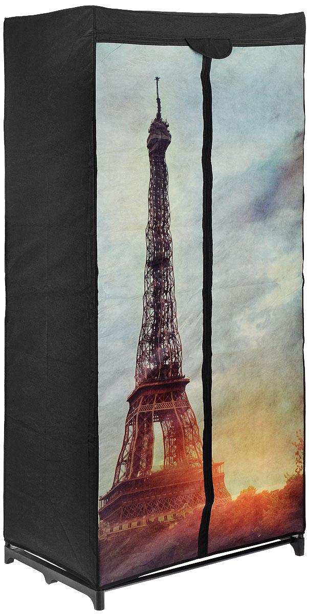Мобильный шкаф для хранения Эйфелева башня, 75 см х 45 см х 160 смWD-7545160-P2Мобильный шкаф предназначен для хранения одежды, он компактный, легкий, быстро собирается, имеет консервативную расцветку. Шкаф представляет собой сборный металлический каркас, на который натянут чехол из нетканого полотна, оформленный изображением Эйфелевой башни. Имеется полка и перекладина для хранения вещей на вешалках. Закрывается шкаф на молнию. Небольшие ножки устойчивы на любой поверхности, будь то паркет, линолеум или ковровое покрытие. Вместительный и компактный шкаф станет незаменимым дома или на даче, красивая расцветка позволит ему вписаться в любой интерьер. С таким шкафом ваши вещи всегда будут в порядке. Максимальная нагрузка на полку: 20 кг Максимальная нагрузка на шкаф: 22,8 кг