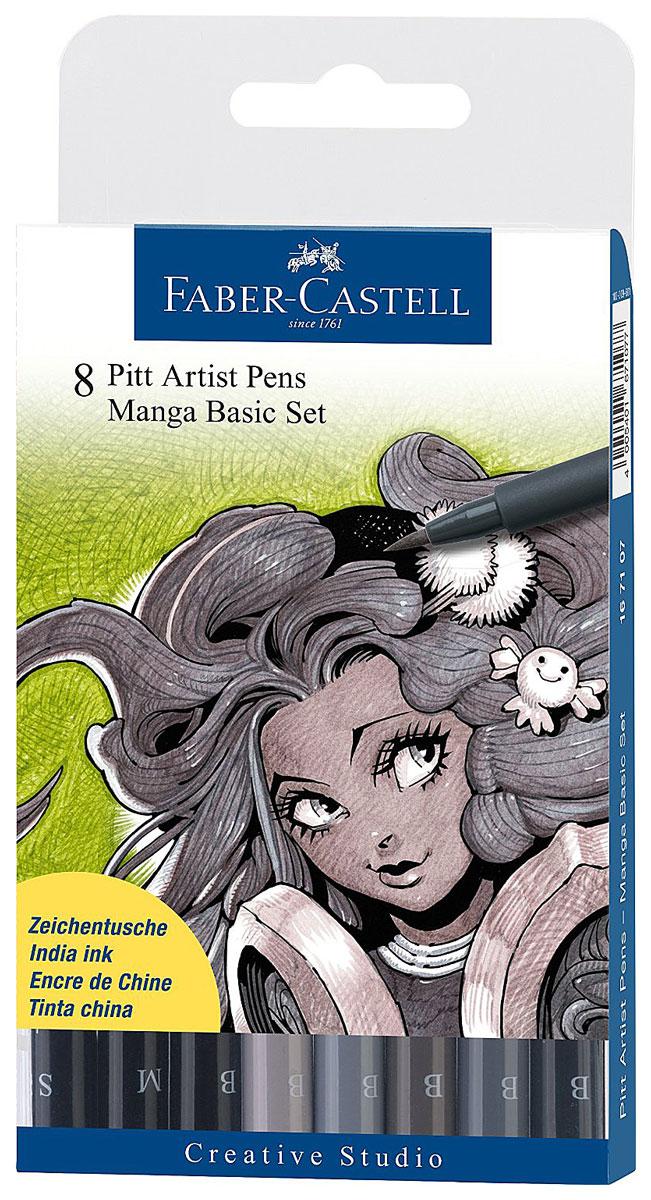 Faber-Castell Ручки капиллярные Manga, 8 цветов72523WDНабор из восьми ручек для рисования Manga от Faber-Castell включает в себя 6 ручек для рисования с мягкими фломастерными наконечниками (эффект кисти, живые штрихи, реагирующие на силу нажатия) и 2 линера с твердыми волокнистыми кончиками (0.3 и 0.7 мм). Цвета ручек-кисточек: черный, теплый серый III, IV, холодный серый III, IV, VI. Линеры - 0.3 мм и 0.7 мм, черные. Водостойкие пигментные чернила очень быстро высыхают, устойчивы к выцветанию, не содержат вредных кислот, ph-нейтральны.