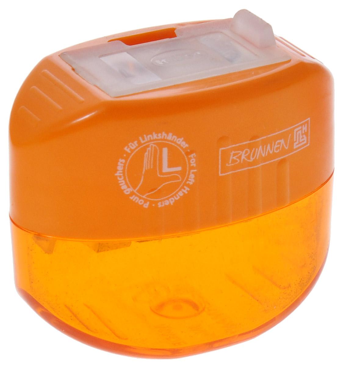 Brunnen Точилка двойная, для левшей, цвет: оранжевый29842\BCD_оранжевыйТочилка двойная для левшей Brunnen, выполнена из прочного пластика. В точилке имеются два отверстия для карандашей разного диаметра, подходит для различных видов карандашей. Отверстия закрываются удобной пластиковой крышкой. Полупрозрачный контейнер для сбора стружки позволяет визуально контролировать уровень заполнения и вовремя производить очистку.