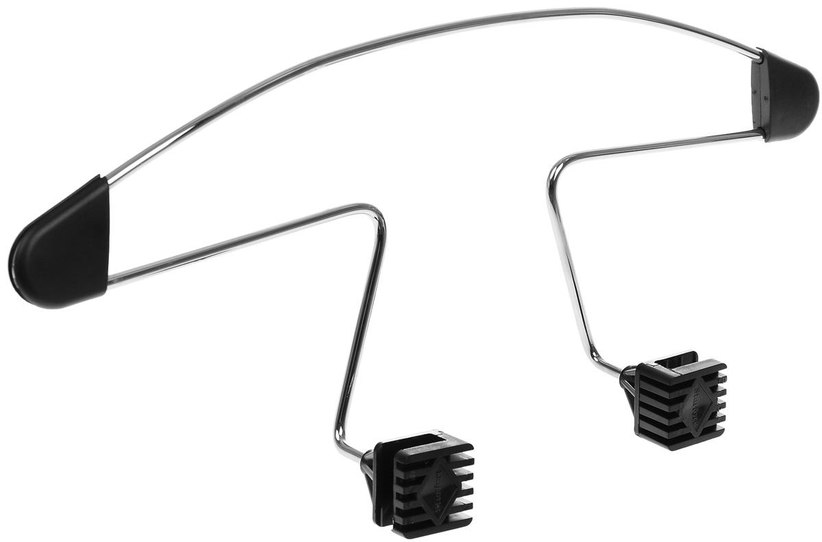 Вешалка автомобильная AVS AV-01, 45 х 18,5 см43660Автомобильная вешалка AVS AV-01 устанавливается на любое переднее сиденье с подголовником на стойках. Прочный стальной каркас не прогнется даже под зимней курткой. Полиуретановые подплечники предотвращают соскальзывание одежды при движении по неровной дороге. Абсолютно не мешают пассажирам заднего сиденья.