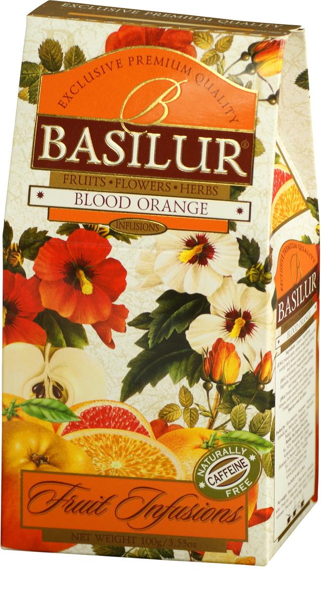Basilur Blood Orange фруктовый листовой чай, 100 г0120710Чай Basilur Blood Orange - взрыв изысканных цитрусовых ароматов, который освежит ваш вкус с каждым глотком. Восхитительное сочетание натурального яблока, пикантной апельсиновой корки, цветов апельсинового дерева и других натуральных компонентов. Прекрасно утоляет жажду в холодном виде и будет идеальным дополнением к десерту.