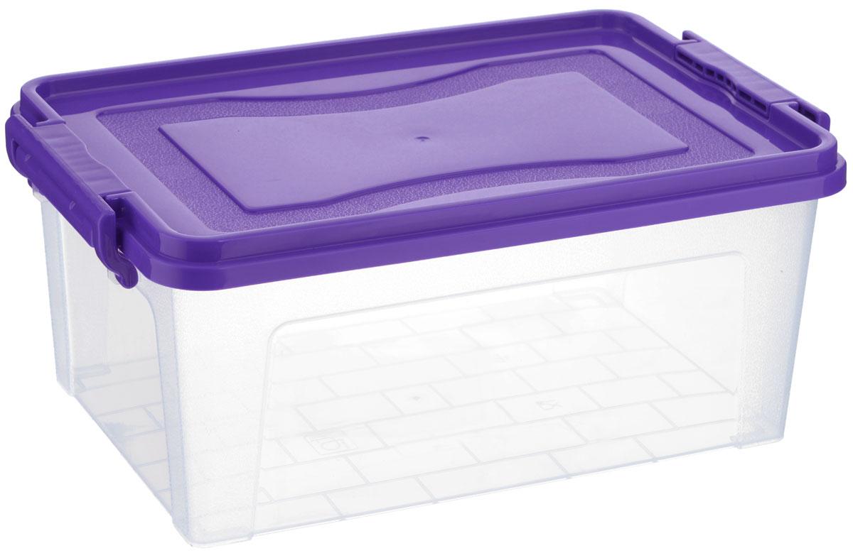 Контейнер для хранения Idea, прямоугольный, цвет: прозрачный, фиолетовый, 8,5 лS03301004Контейнер для хранения Idea выполнен из высококачественного пластика. Изделие оснащено двумя пластиковыми фиксаторами по бокам, придающими дополнительную надежность закрывания крышки. Вместительный контейнер позволит сохранить различные нужные вещи в порядке, а герметичная крышка предотвратит случайное открывание, защитит содержимое от пыли и грязи.Объем: 8,5 л.