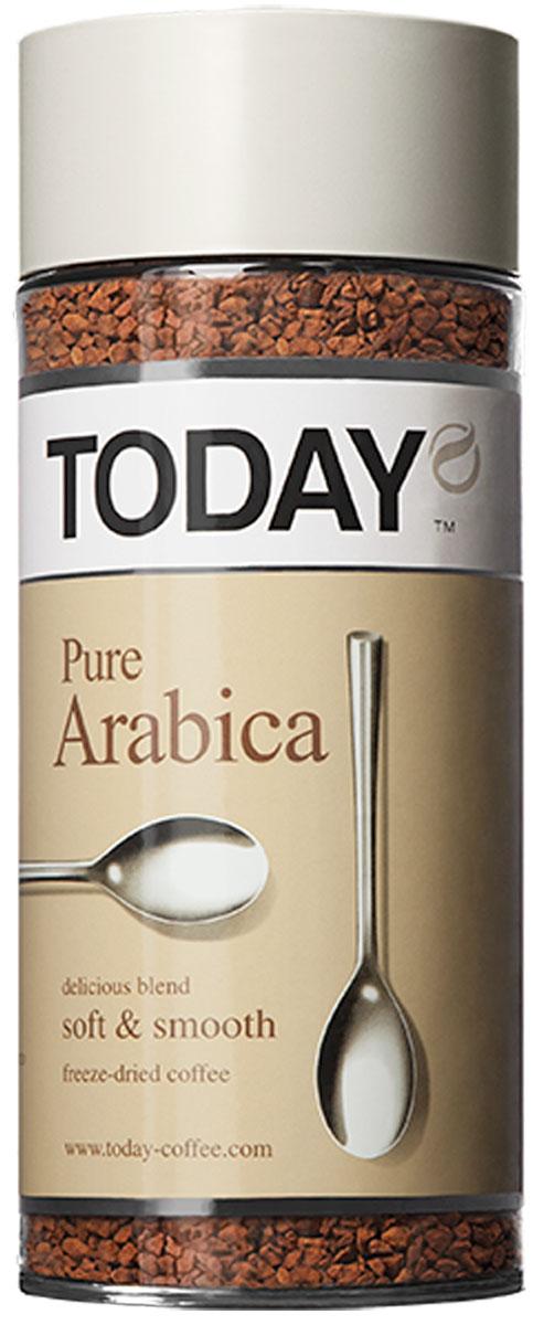 Today Pure Arabica кофе растворимый, 95 г0120710Отборные зерна Колумбийской Арабики подарили этому кофе мягкий вкус, легкую смородиновую кислинку и тонкую нотку фруктового оттенка. Today Pure Arabica создан для настоящих гурманов! Приготовлен методом сухой заморозки с использованием эксклюзивной технологии Aroma Optima, которая позволяет сохранить вкус натурального кофе без применения добавок и ароматизаторов.