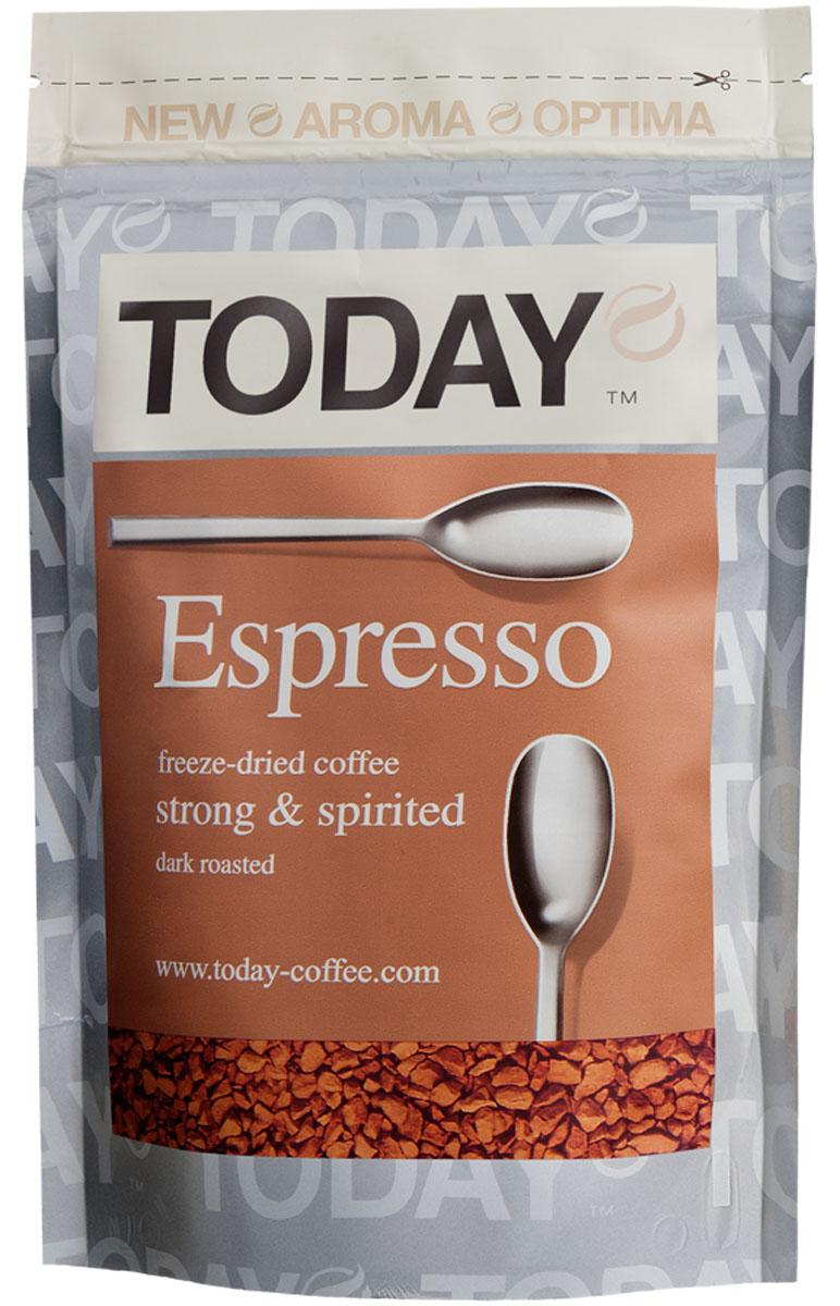 Today Espresso кофе растворимый, 150 г101246Крепкий и насыщенный кофейный вкус Today Espresso поможет проснуться утром и поддержать силы днем всем любителям настоящего итальянского эспрессо. Приготовлен методом сухой заморозки с использованием эксклюзивной технологии Aroma Optima, которая позволяет сохранить вкус натурального кофе без применения добавок и ароматизаторов.