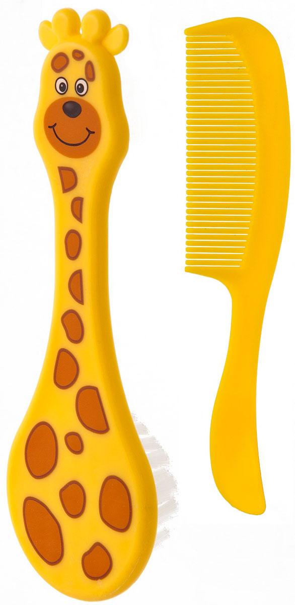 Курносики Набор для ухода за волосами Африка 2 шт19540Набор для ухода за волосами Курносики Африка состоит из расчески с закругленными зубчиками и щетки, изготовленной из мягкой щетины. Изделия выполнены из прочного безопасного пластика и прошли тщательный контроль качества. Щетка оформлена изображением в виде жирафа. Функциональный и практичный набор расчесок необходим всем малышам с самого рождения.