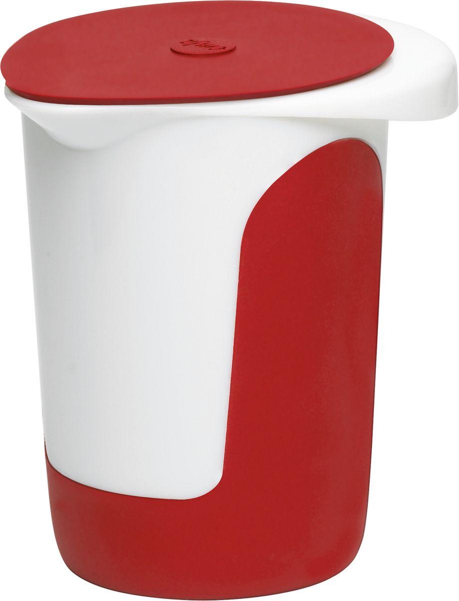 """Миска для смешивания Emsa """"Mix&Bake"""", с крышкой, цвет: белый, красный, 1 л 508017"""