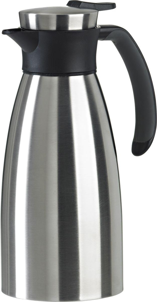 Термос-кофейник Emsa Soft Grip, цвет: серебристый, черный, 1 лVT-1520(SR)Термос-кофейник Emsa Soft Grip имеет матовый корпус, выполненный из нержавеющей стали. Ручка, декоративное кольцо и носик выполнены из высококачественного пластика. Колба выполнена из нержавеющей стали. Как и все термокофейники EMSA, эта модель имеет 5-ти слойную систему изоляции X-SAFE. Рычаг крышки располагается удобно под рукой, он не нагревается и легко открывается под небольшим давлением. Ручка имеет эргономичную форму, легко ложиться в руку и приятна на ощупь. Обладая прекрасными тепловыми качествами такая модель прекрасно сохраняет температуру горячих и холодных напитков. Диаметр дна: 10,5 см.Диаметр горлышка: 7,2 см.Высота термоса: 24 см.Время сохранения холода: 24 ч.Время сохранения тепла: 12 ч.