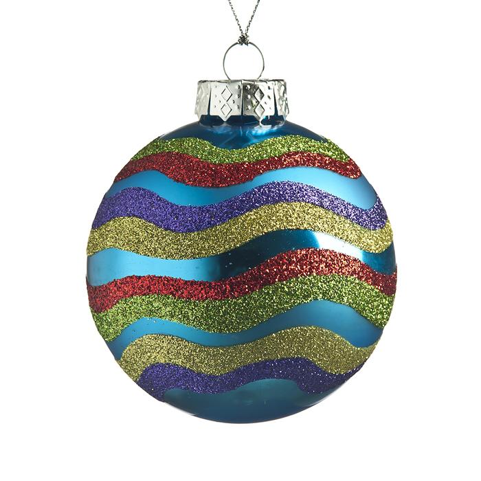 """Новогоднее подвесное украшение It's a Happy Day """"Новогодний"""", цвет: голубой, золотистый, красный, диаметр 8 см 66539"""